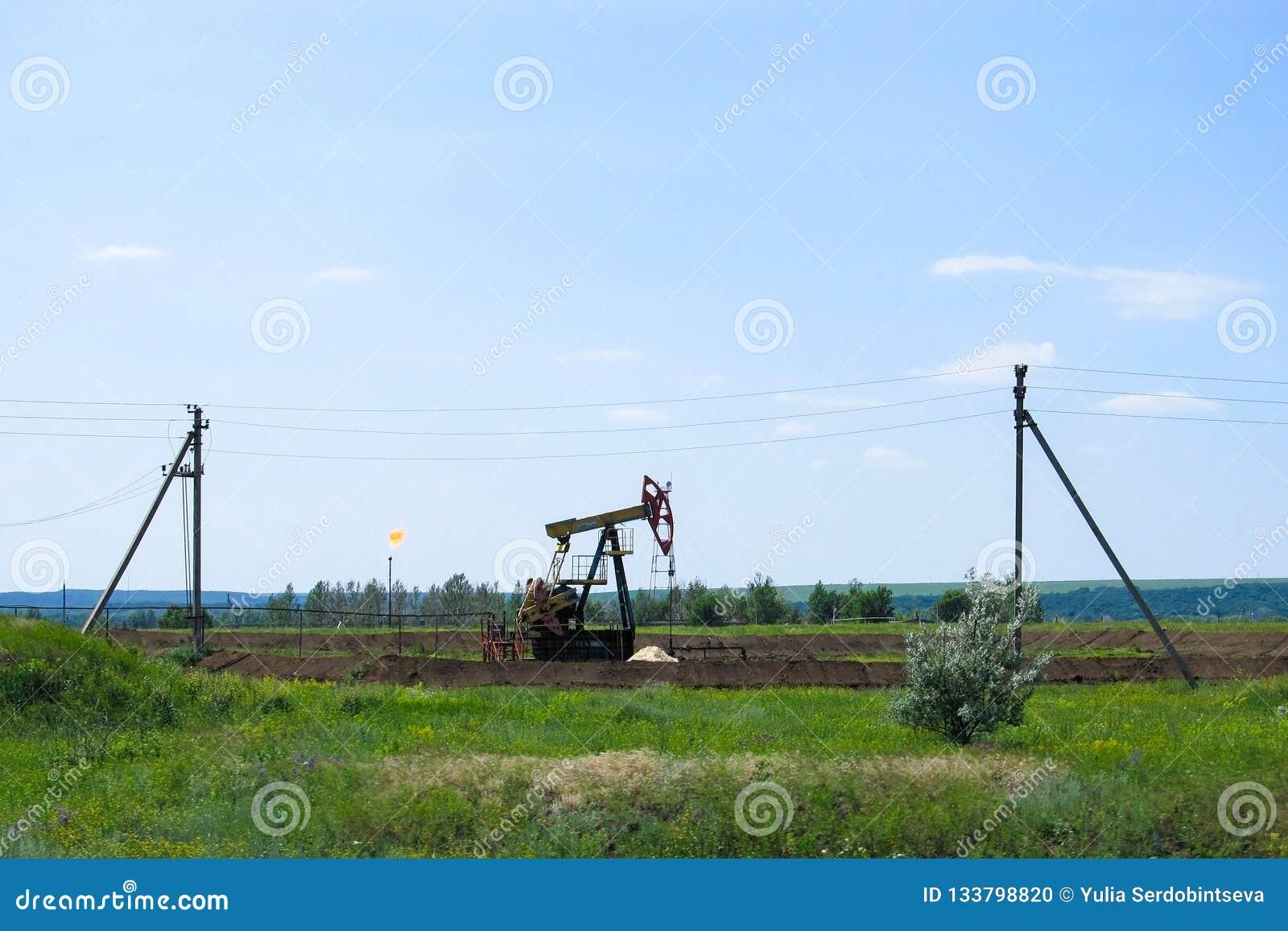 Bomba de óleo de trabalho na terra entre os campos verdes