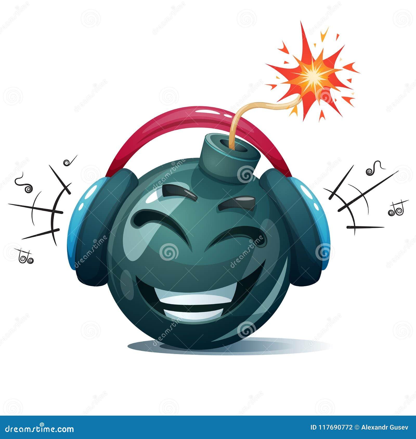 Bomba de la historieta, fusible, mecha, icono de la chispa Smiley de la música