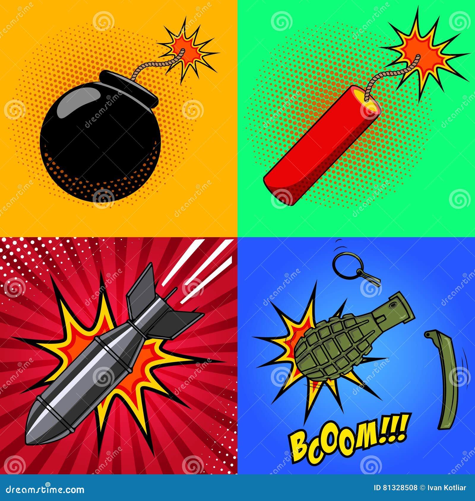 Bomba Dos Desenhos Animados Vara Da Dinamite Granada Com Fogo