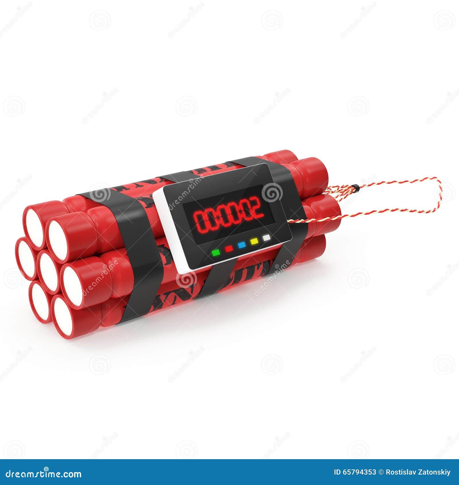 Bomba roja de la dinamita de TNT con un contador de tiempo aislado en un fondo blanco