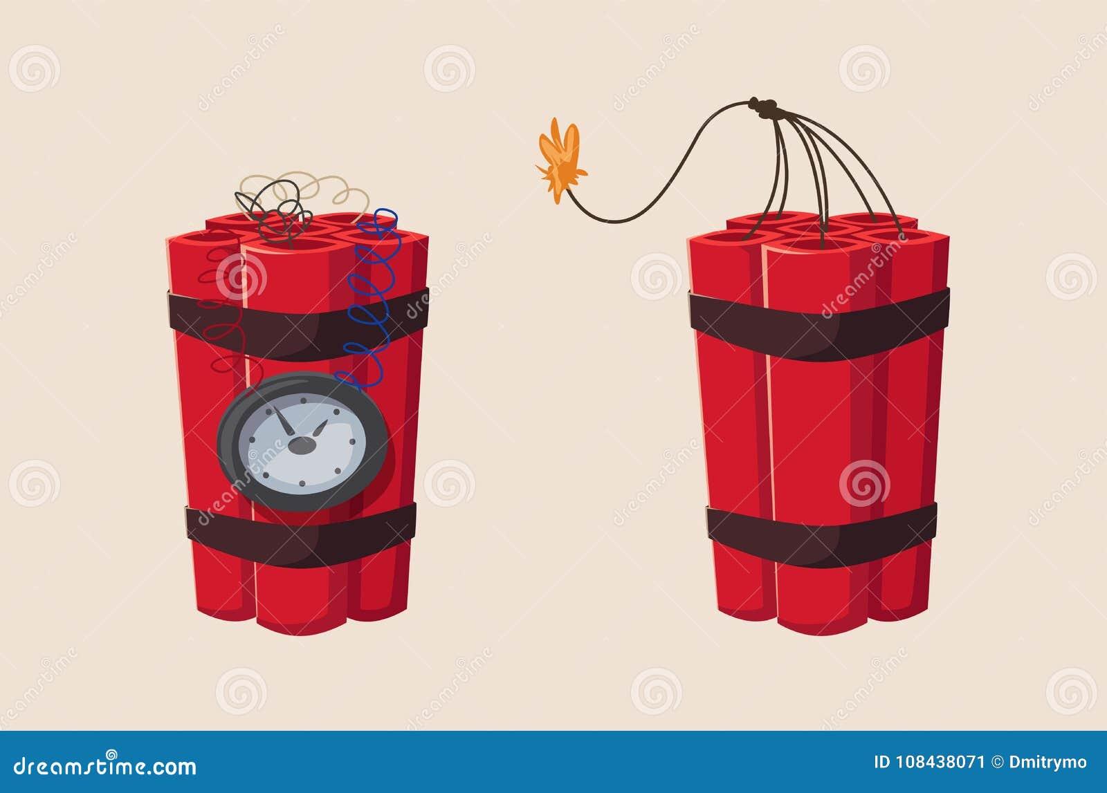 Bombe à retardement de TNT avec l horloge Illustration de vecteur de dessin animé