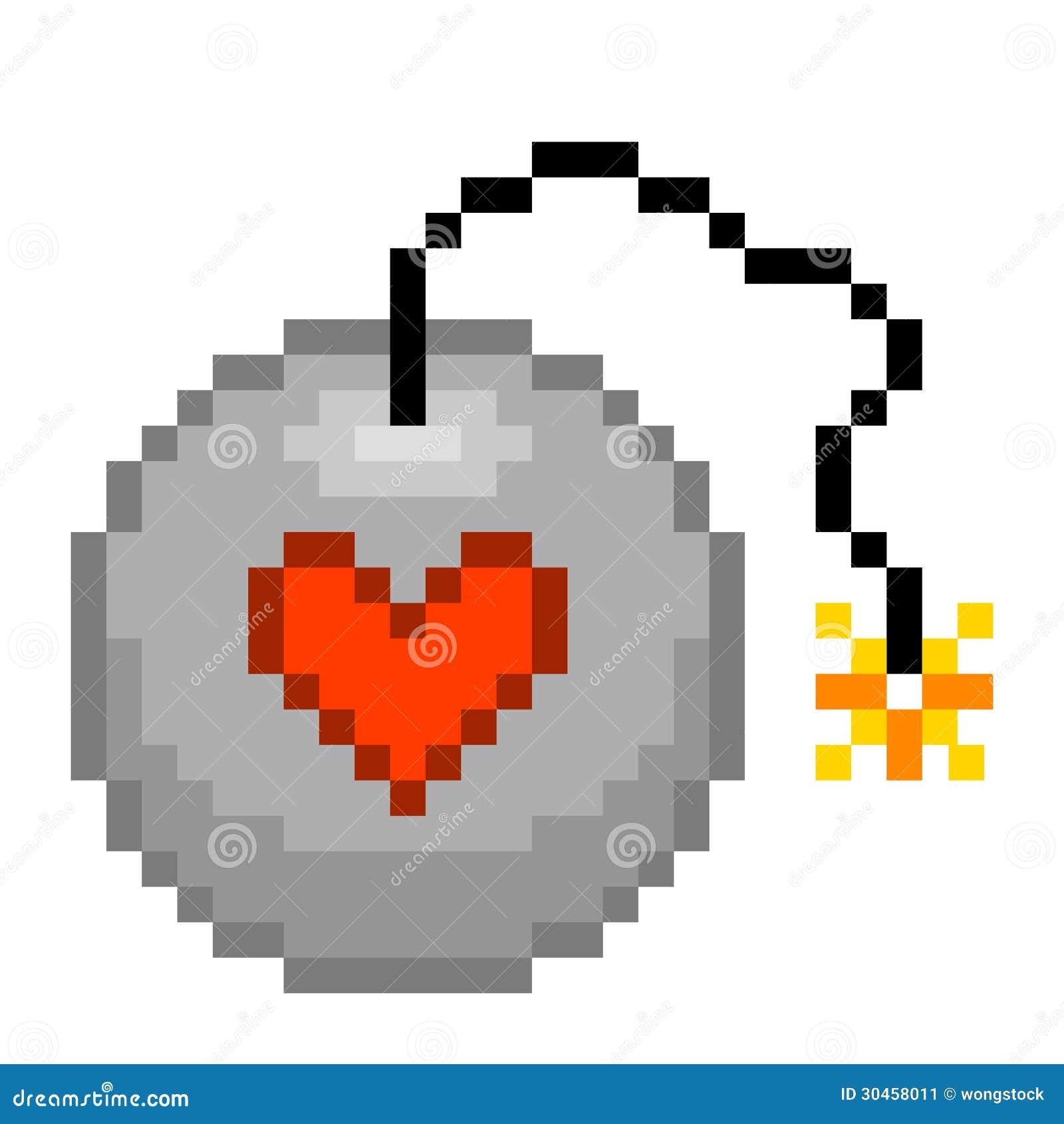 Bombe D Amour à 8 Bits De Pixel Illustration De Vecteur