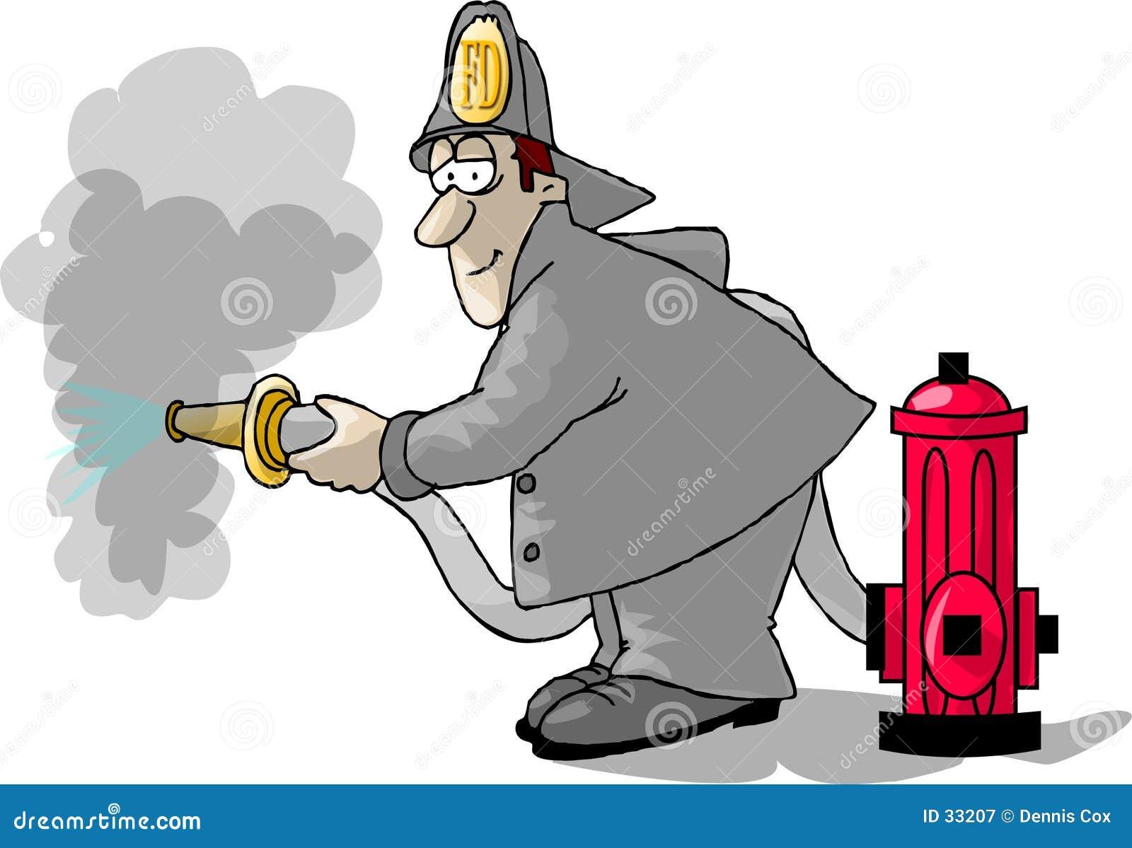 Bombeiro, boca de incêndio e uma mangueira