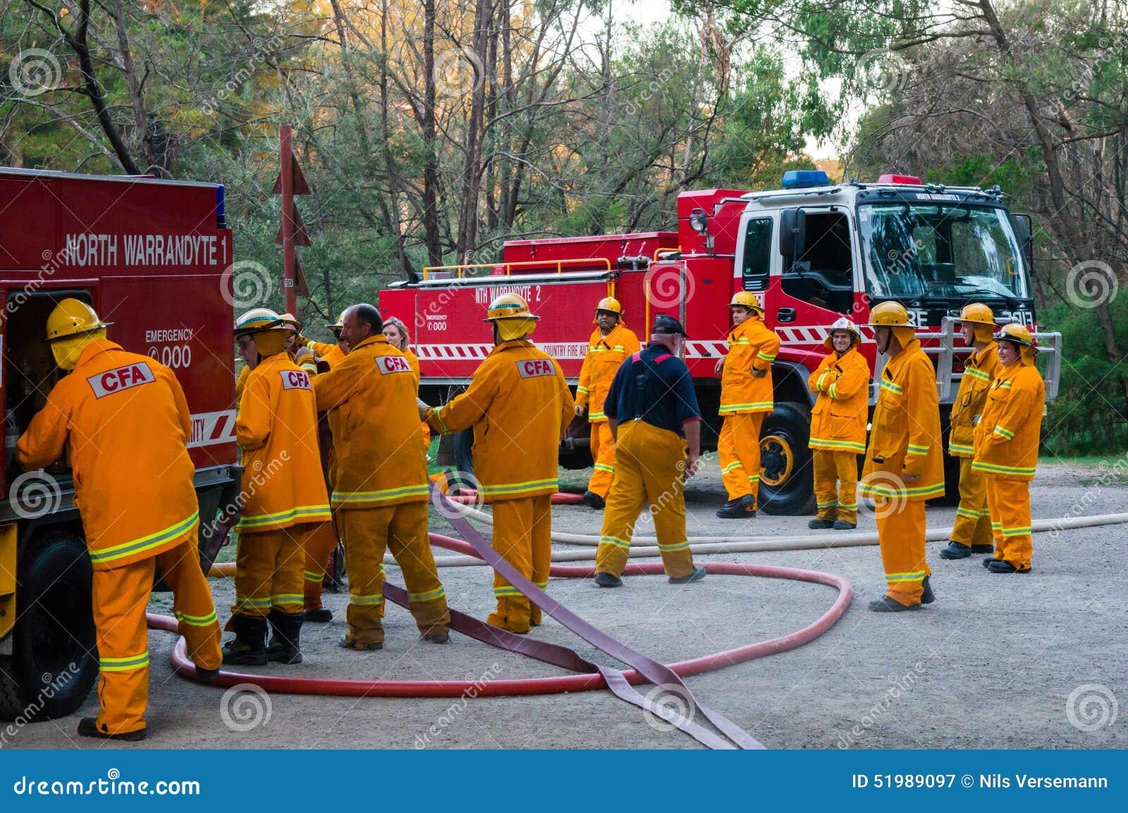 Bombeiros australianos da autoridade do fogo do país em Melbourne