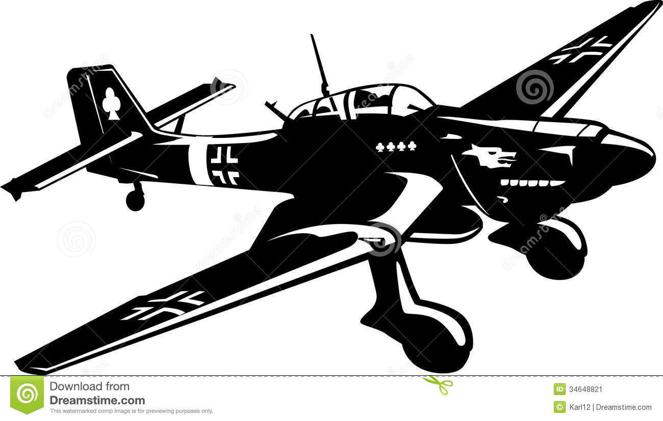 Bomber JU-87 airplane stock vector. Image of airport ...