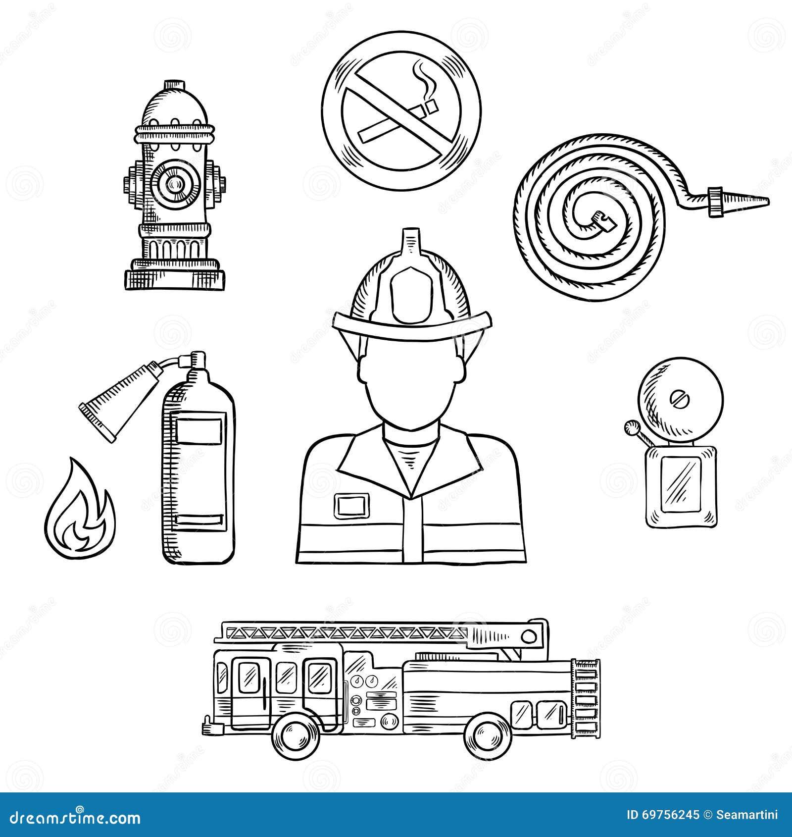 Bombero con símbolos del bosquejo de la protección contra los incendios
