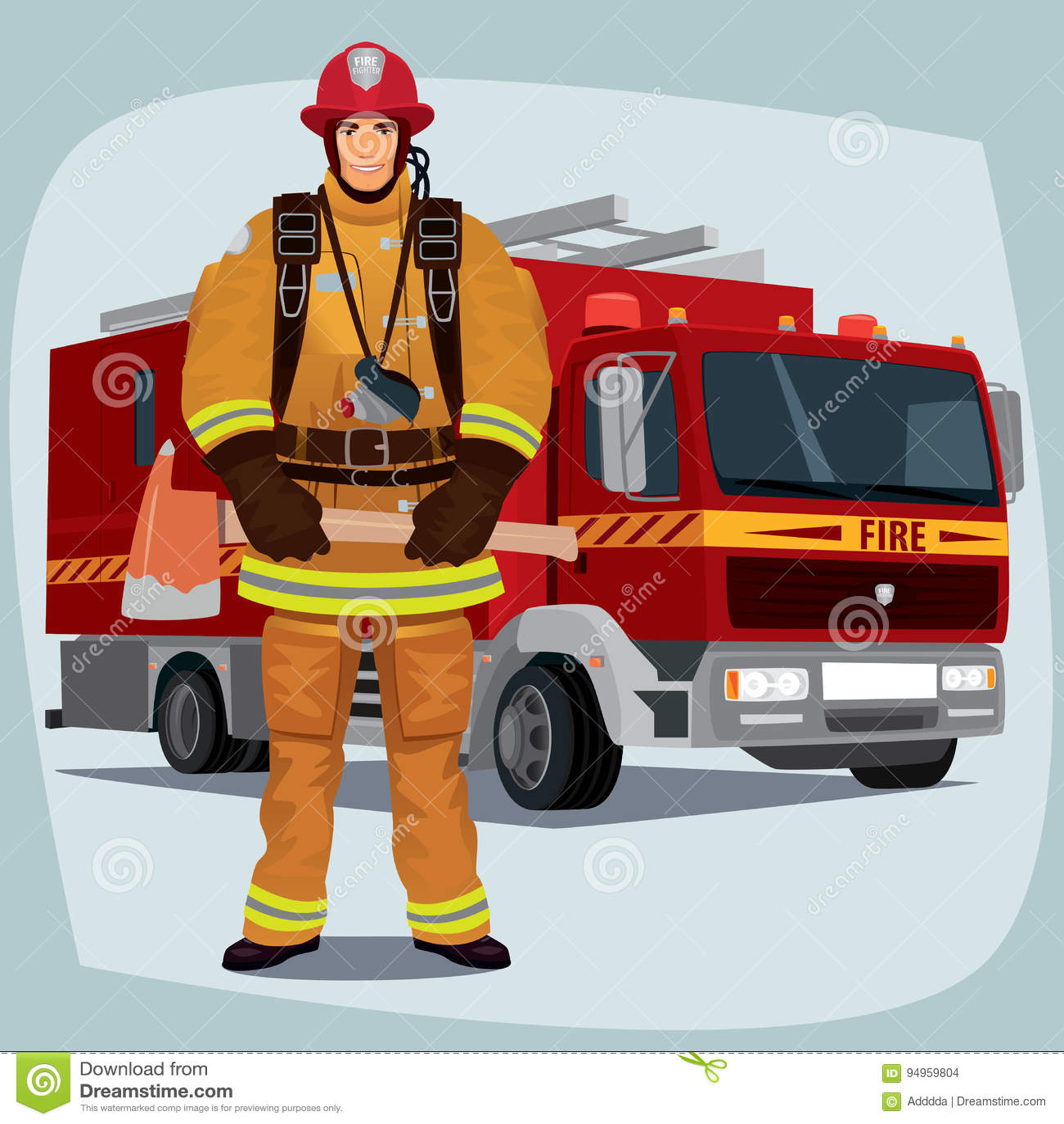 Bombero o bombero con el coche de bomberos
