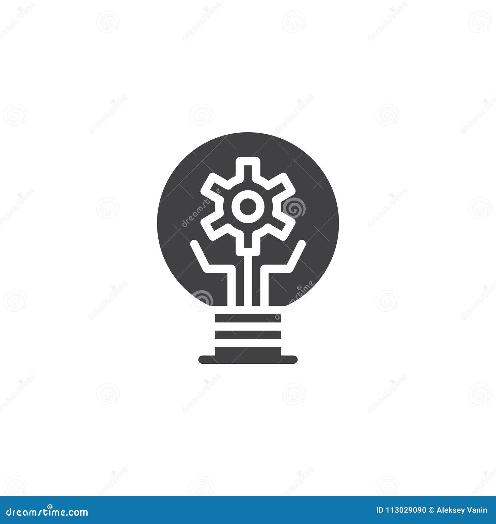 Bombilla con el icono del vector del engranaje