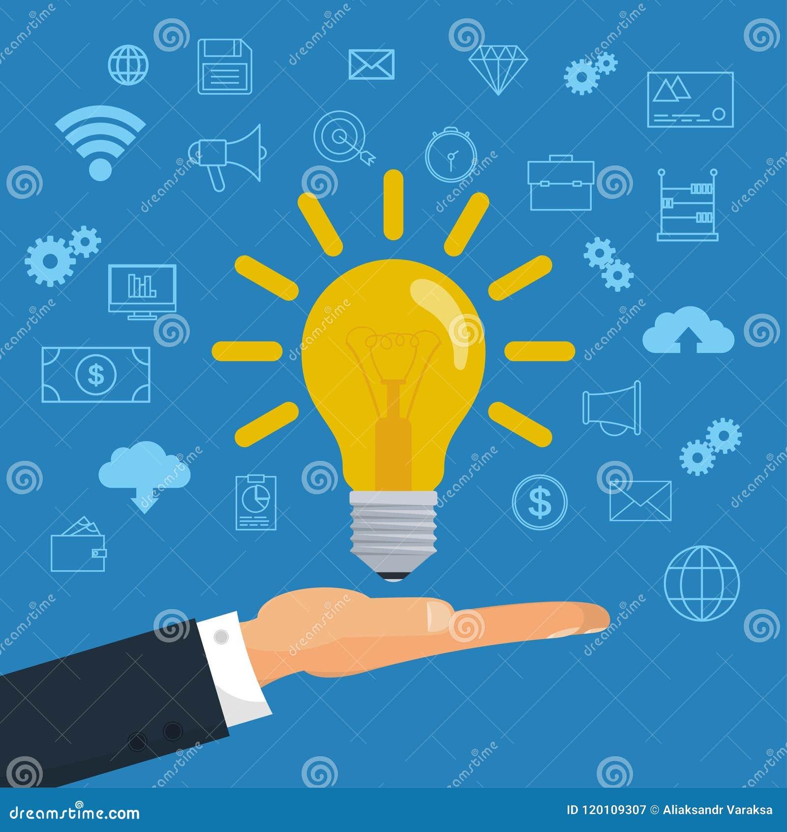 Bombilla de la idea creativa