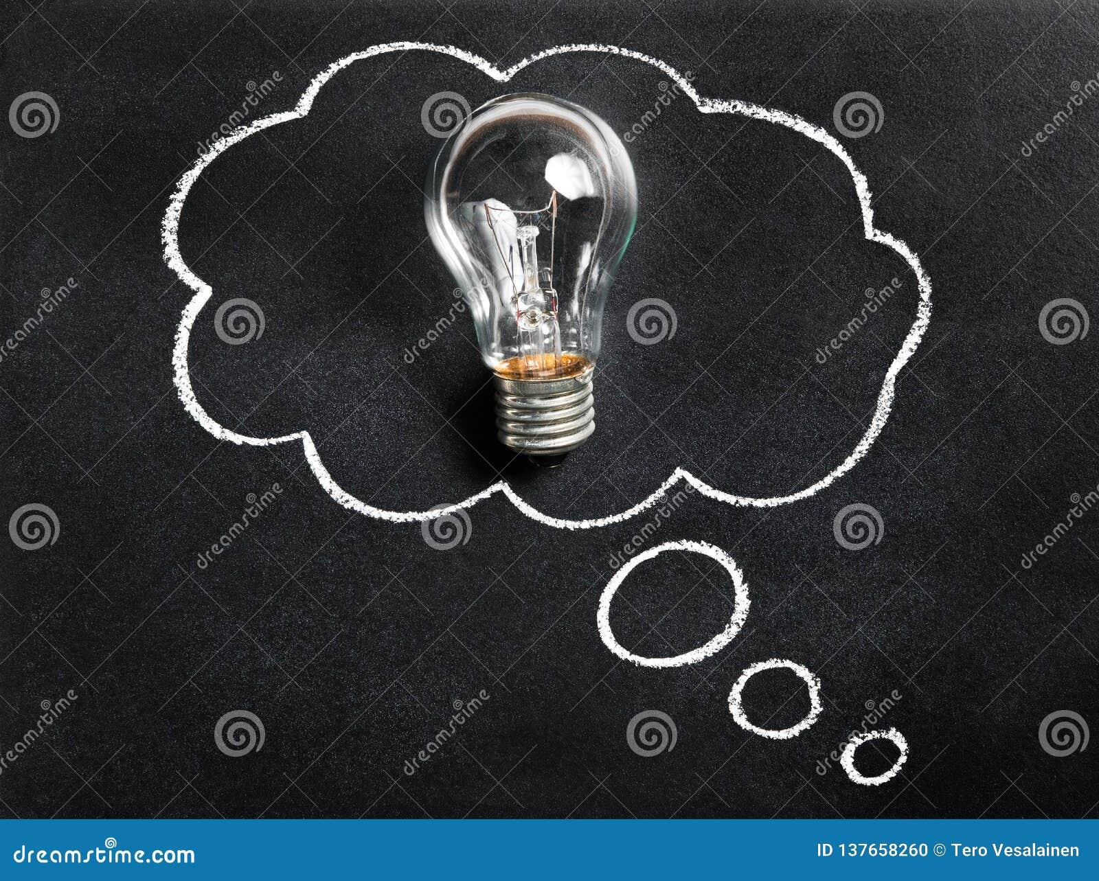 Bombilla en la pizarra Pensamiento en la nueva gran idea El inspirarse y el crear Creatividad, innovación, inspiración