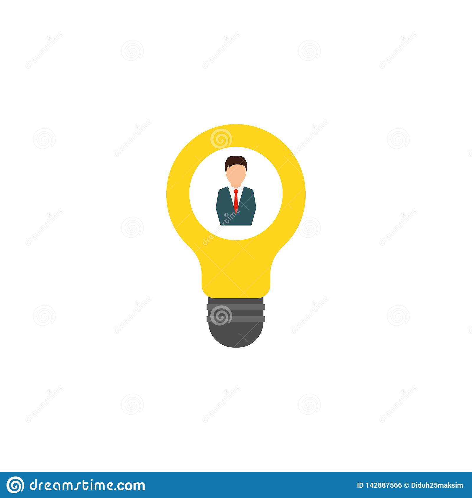 Bombilla, hombre y lámpara, idea Fondo blanco Ilustración del vector EPS 10