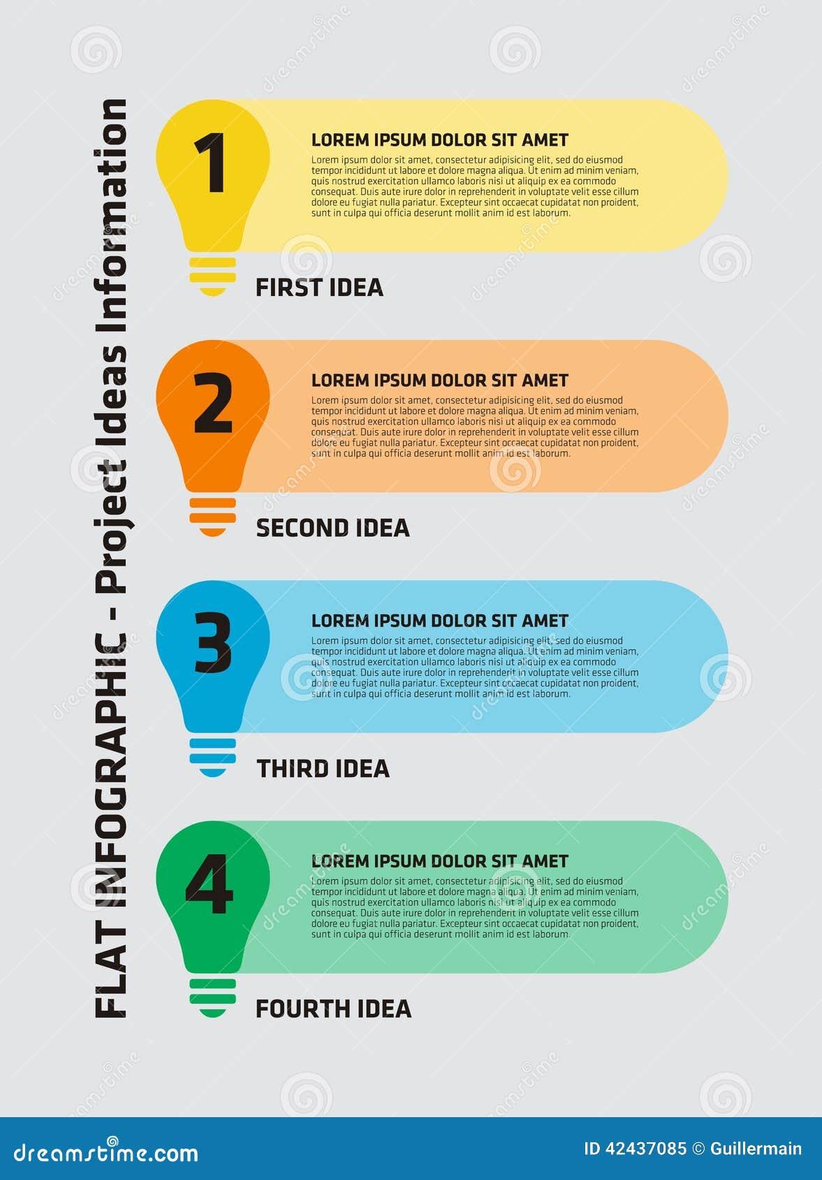 Bombilla Infographic de 4 pasos