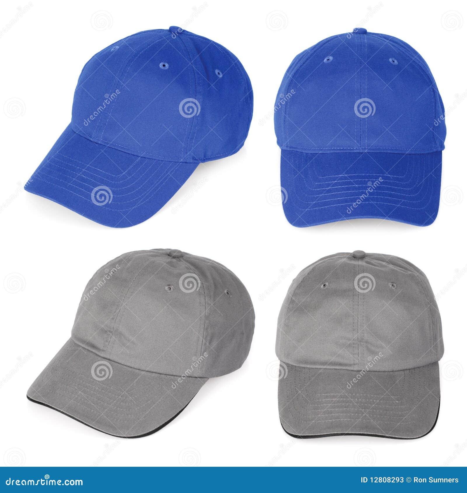 Bonés de beisebol azuis e cinzentos em branco