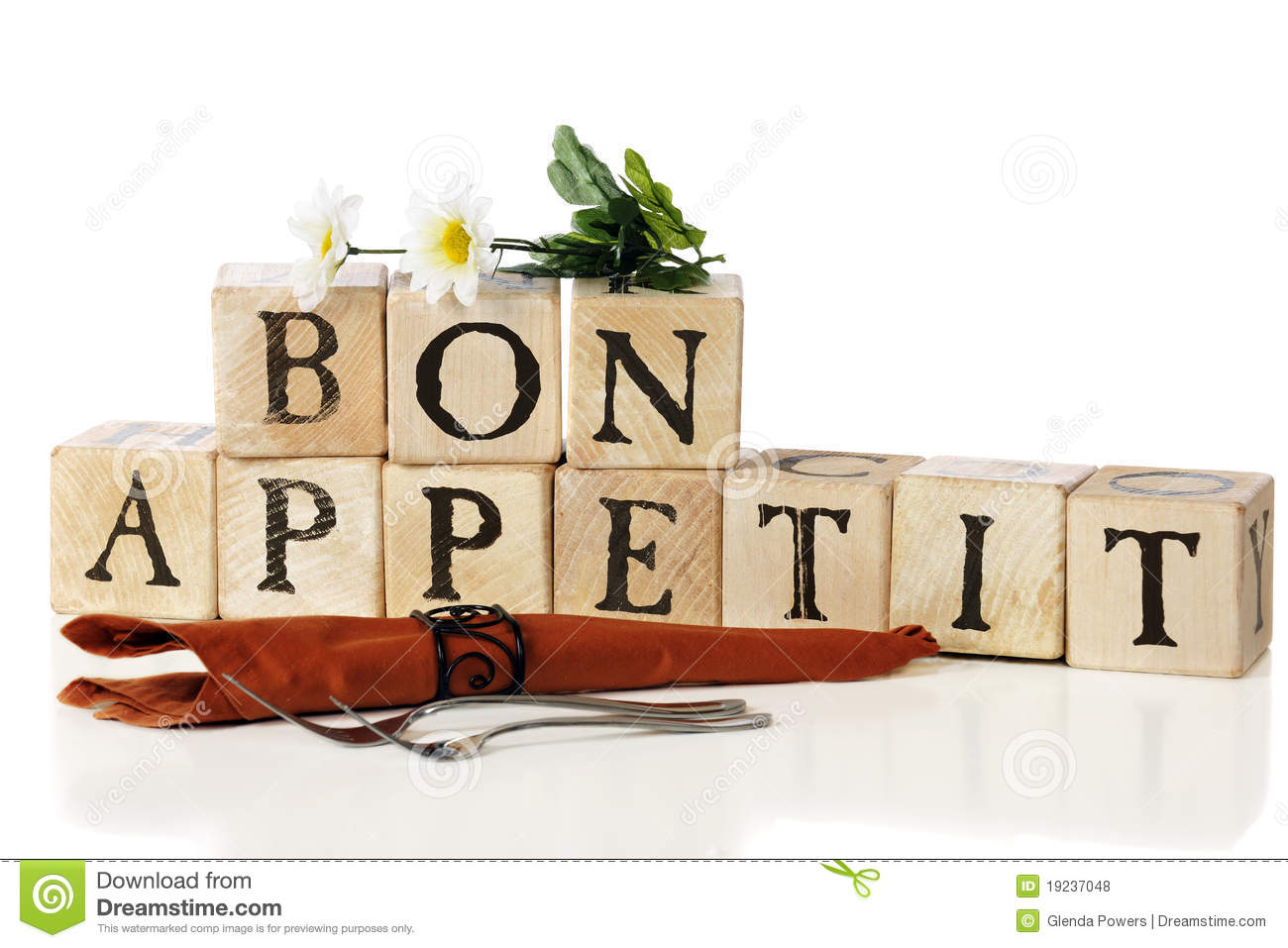 ... Appetit, spelled out with rustic alphabet blocks. Isolated on white
