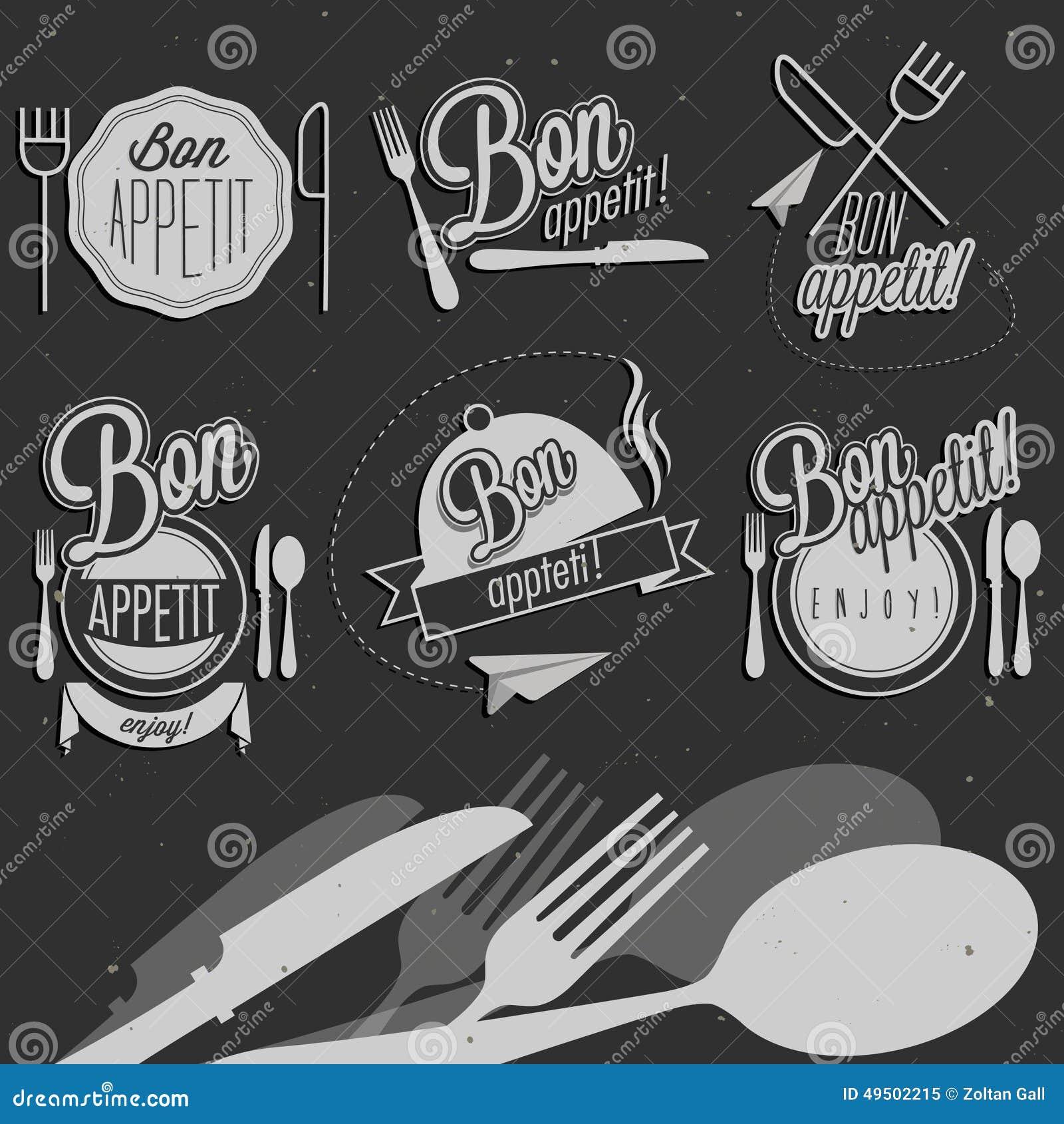 bon appetit lettering food label set vector illustration vector illustration cartoondealer. Black Bedroom Furniture Sets. Home Design Ideas