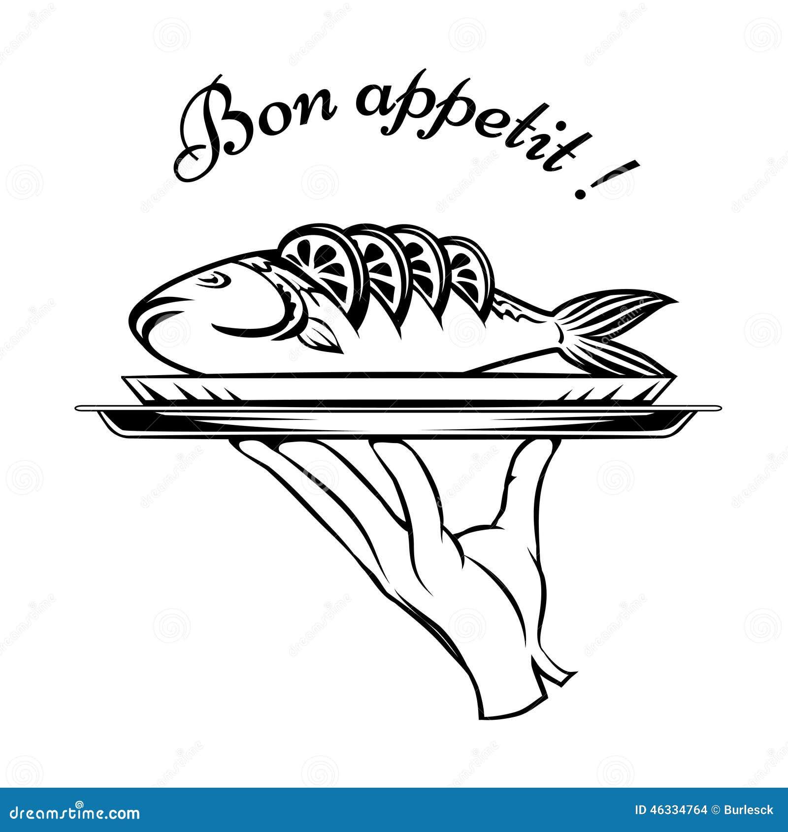 bon appetit fish design element stock vector image 46334764. Black Bedroom Furniture Sets. Home Design Ideas