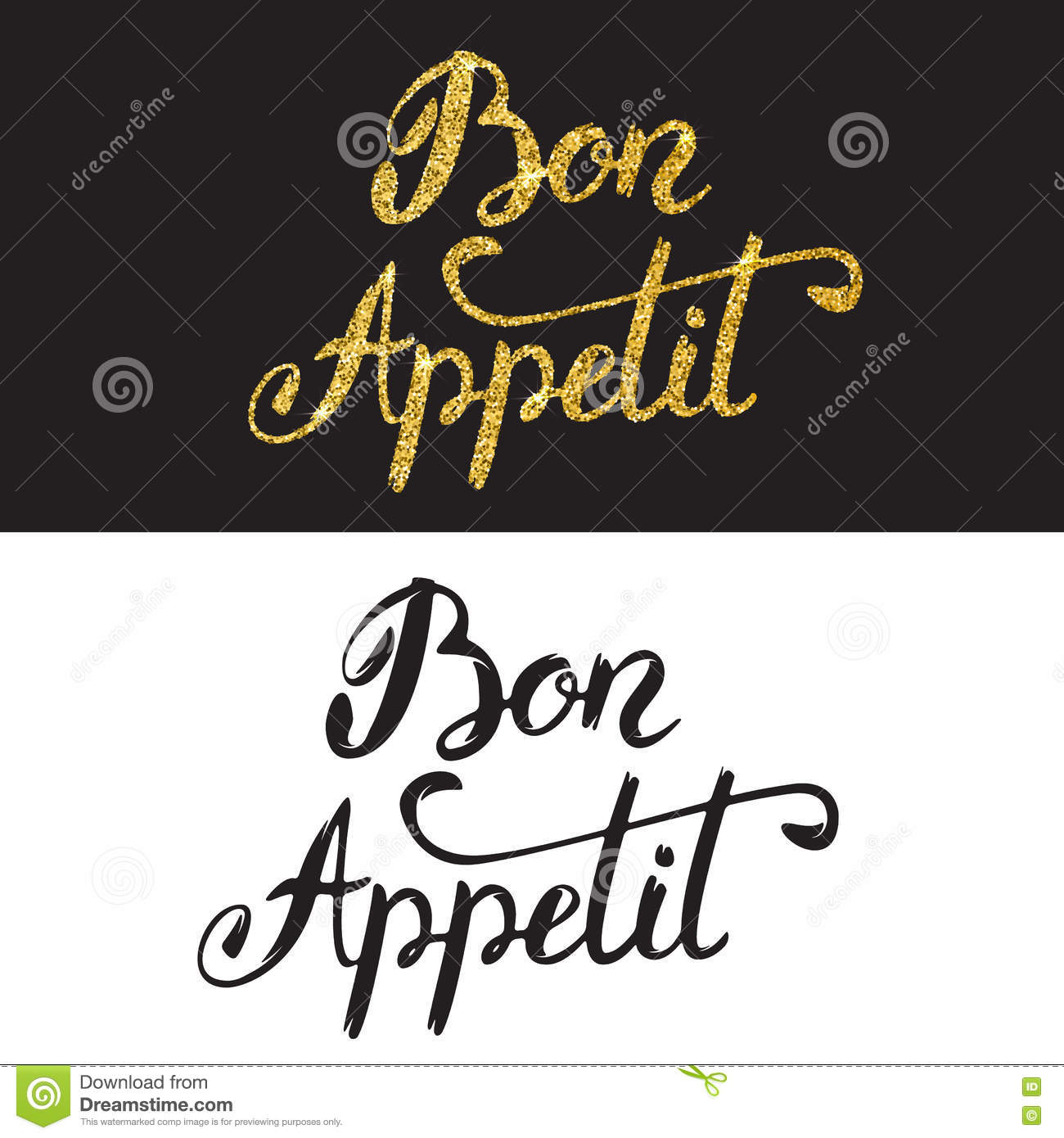 Bon Appetit Hand Drawn Lettering With Golden Style