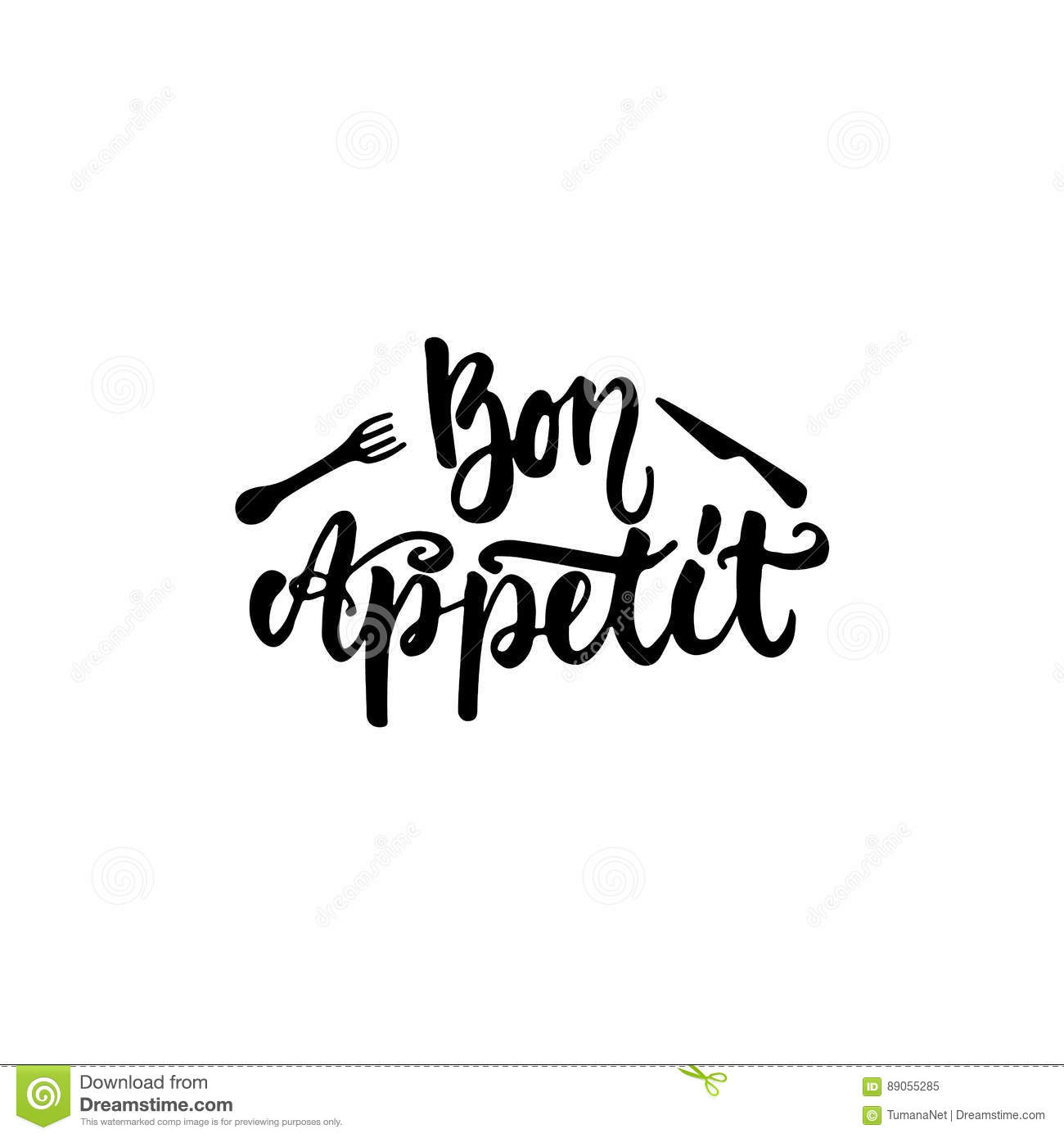 Bon Appetit Hand Drawn Lettering Phrase Isolated On The