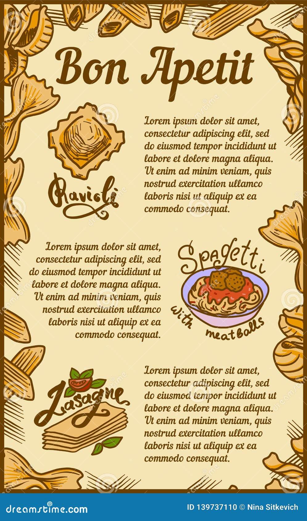 Bon Appetit Ravioli Lasagne Concept Banner Hand Drawn Style Stock Vector Illustration Of Italian Lasagna 139737110