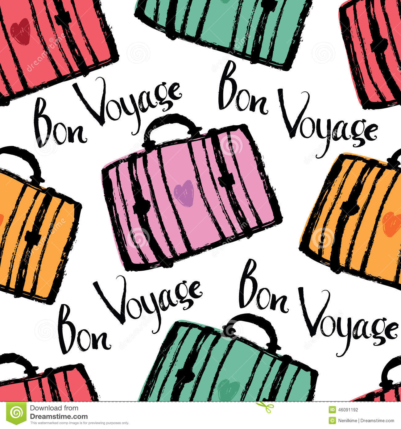 bon voyage background with colorful suitcases stock vector Print Your Own Luggage Tags Print Your Own Luggage Tags