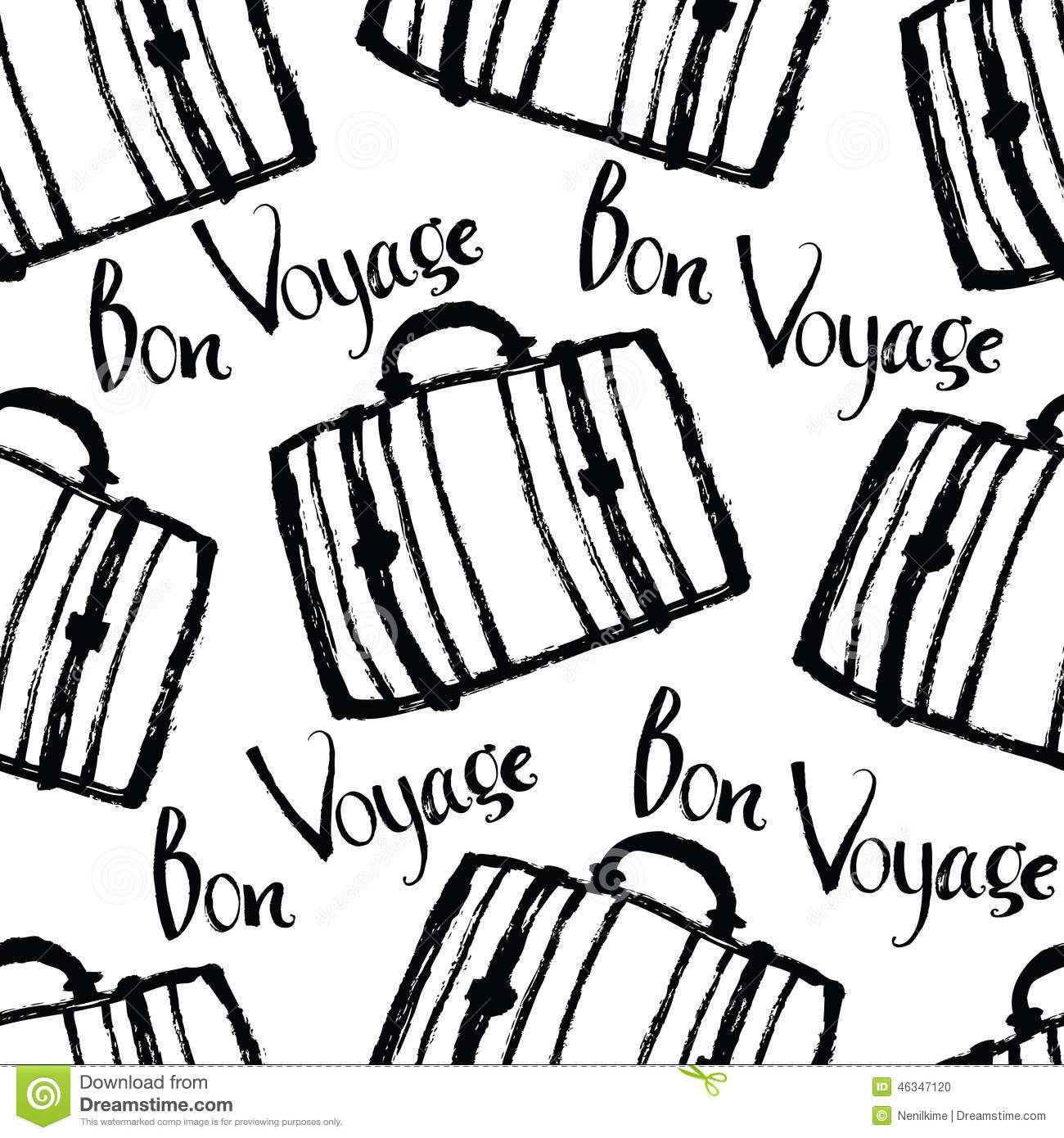 Bon Voyage Background With Suitcases Stock Vector - Image: 46347120