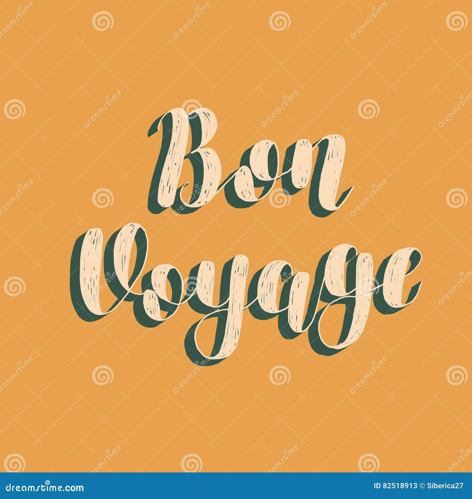 bon voyage brush lettering vector illustration stock vector