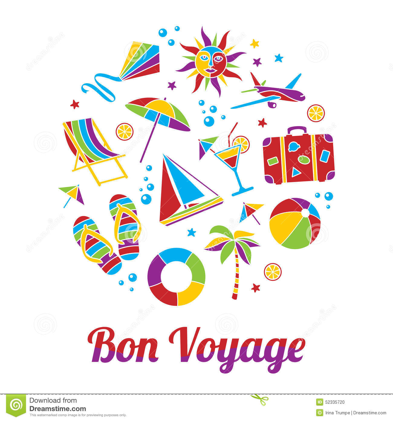 Vacation illustration with Bon Voyage headline in flat mosaic style.