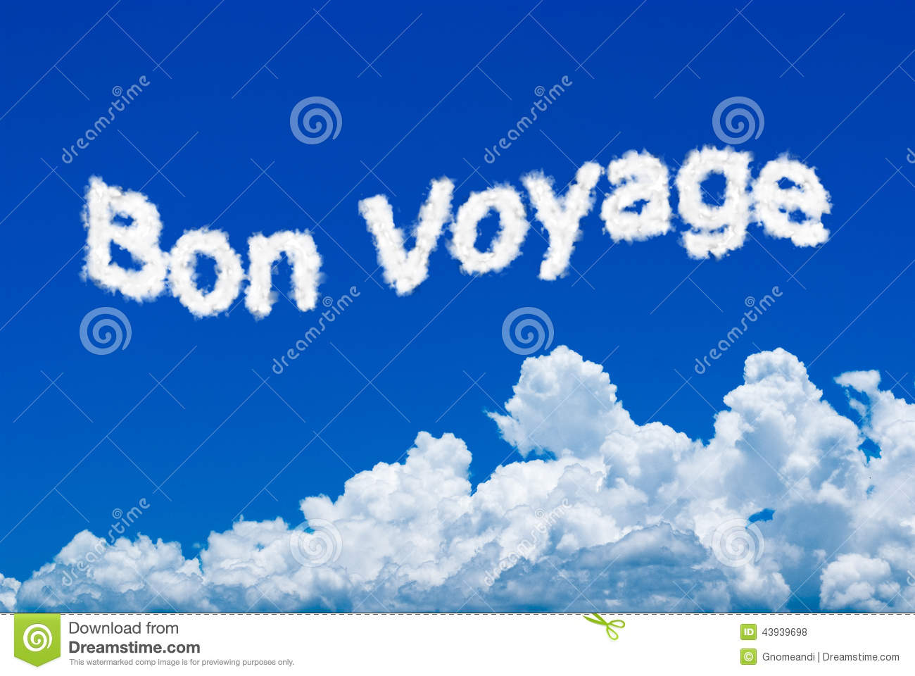Bon Voyage message written in the cloud form on the sky.