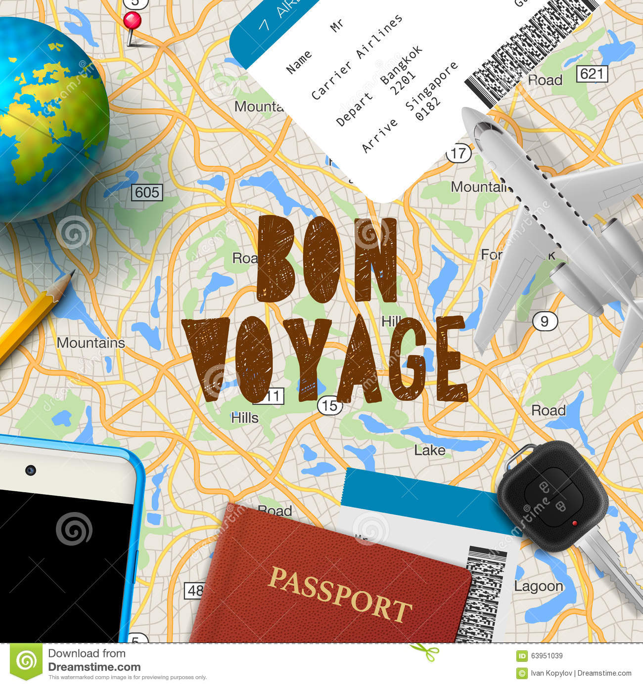 bon voyage  planning vacation trip with map stock vector
