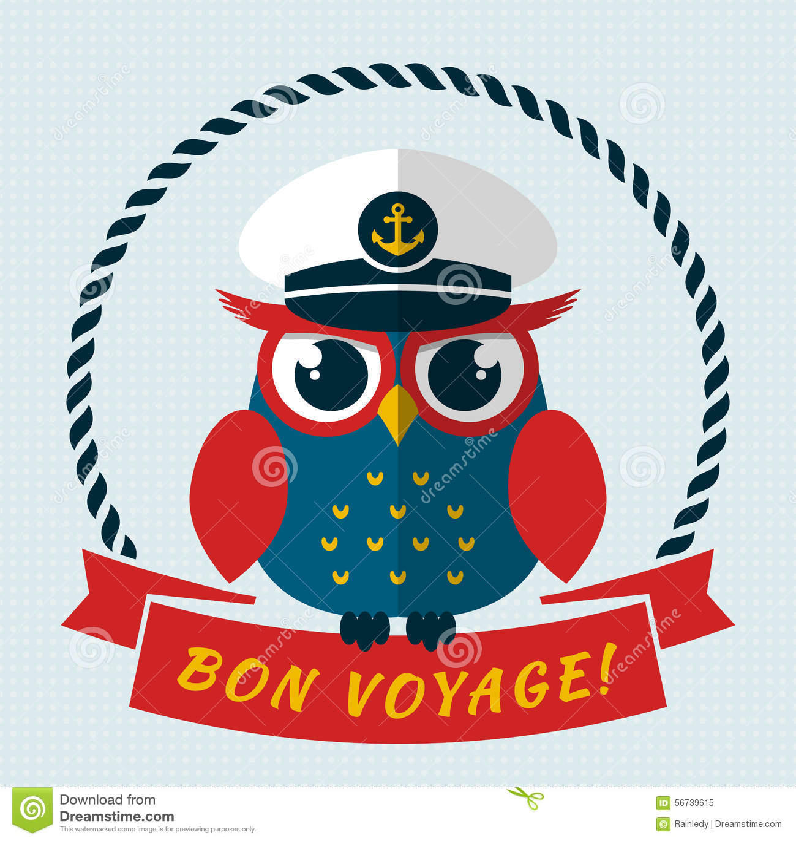 Bon Voyage! Vector Card With Owl. Stock Vector ...