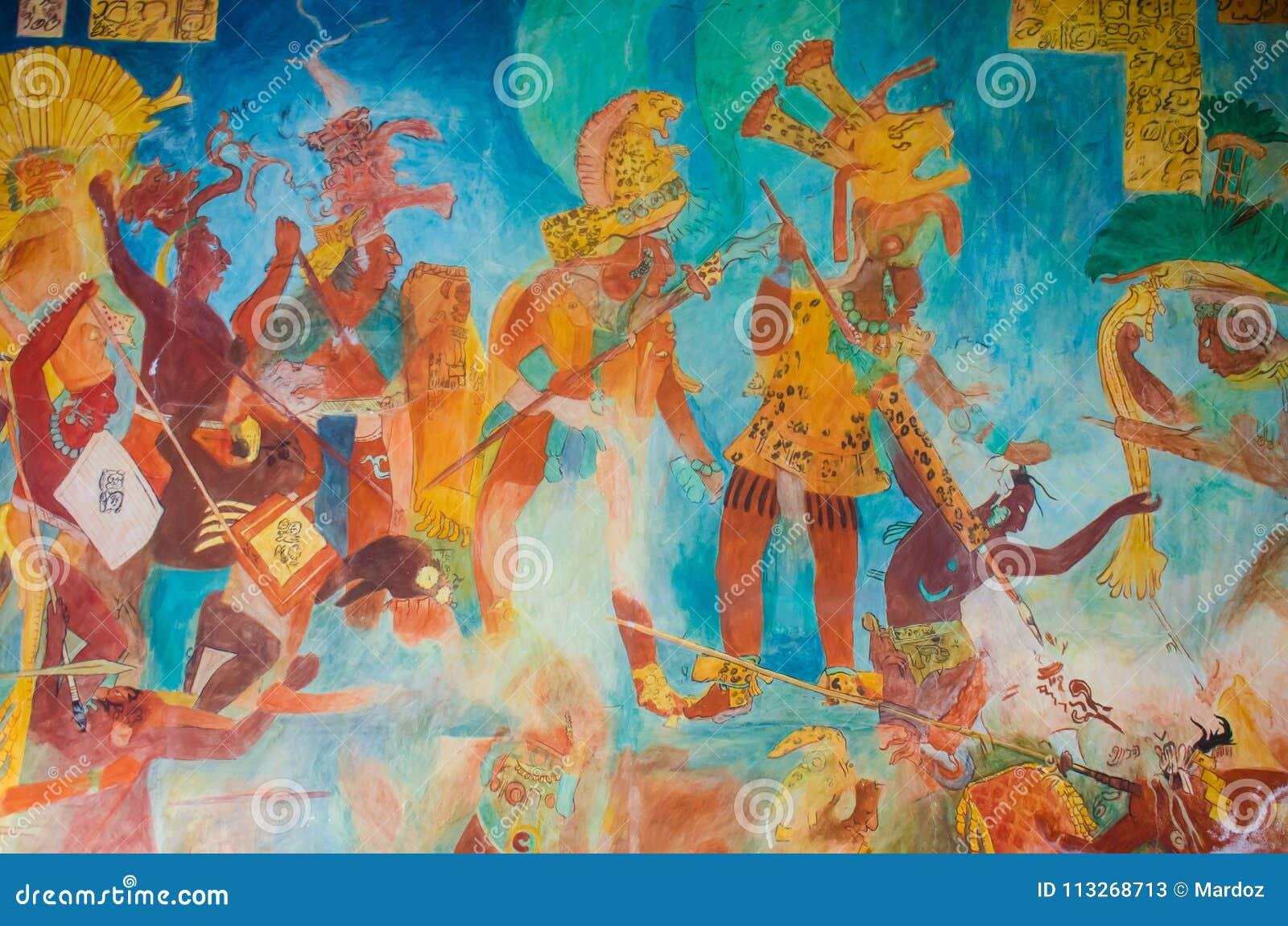 Bonampak Mural Paintings Describing Nobility Stock Image Image Of