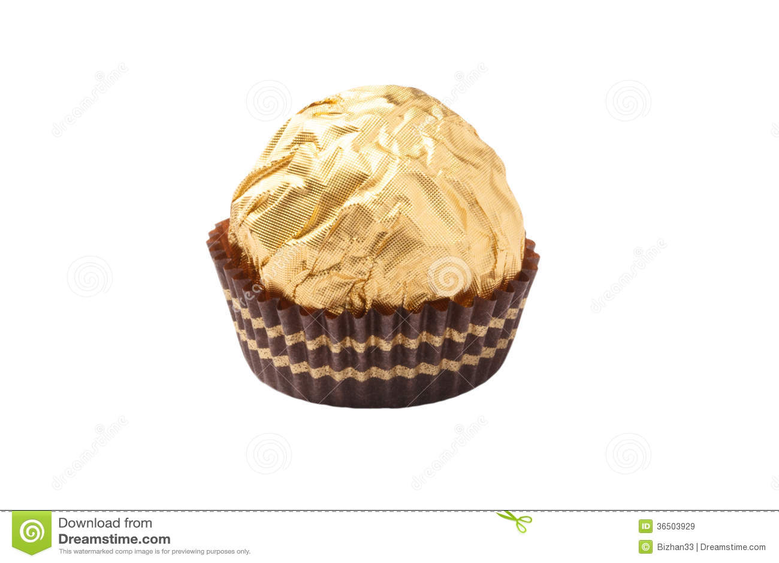 Bonbons au chocolat d isolement enveloppés dans l aluminium d or