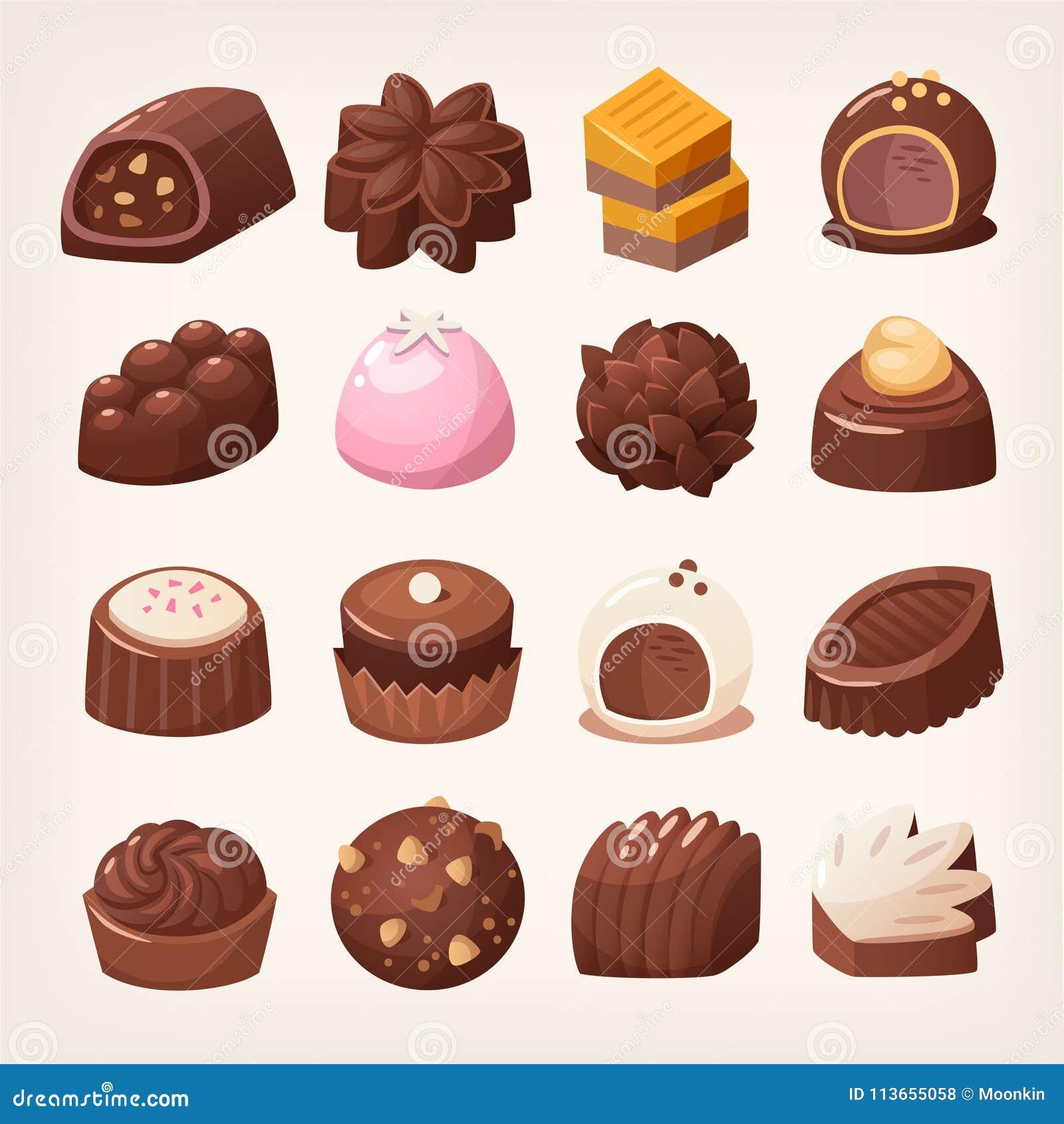 Bonbons au chocolat foncés et blancs délicieux