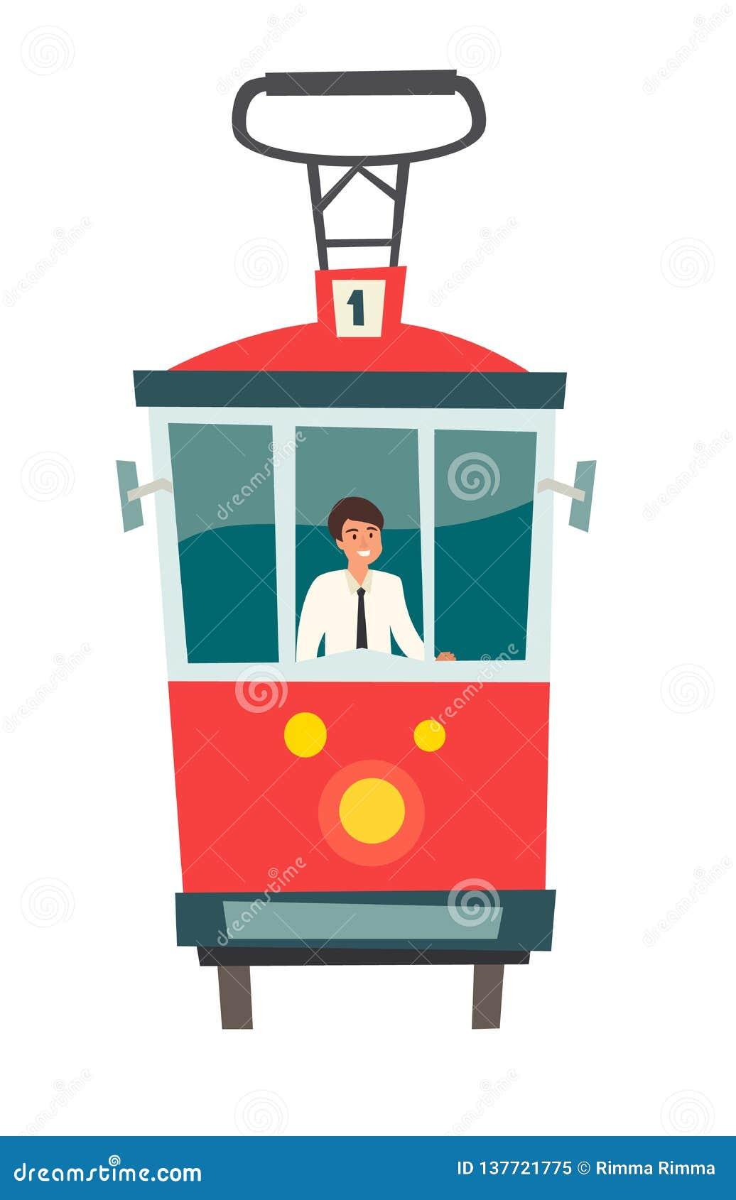 Bonde vermelho, transporte público com motorista, ilustração do vetor