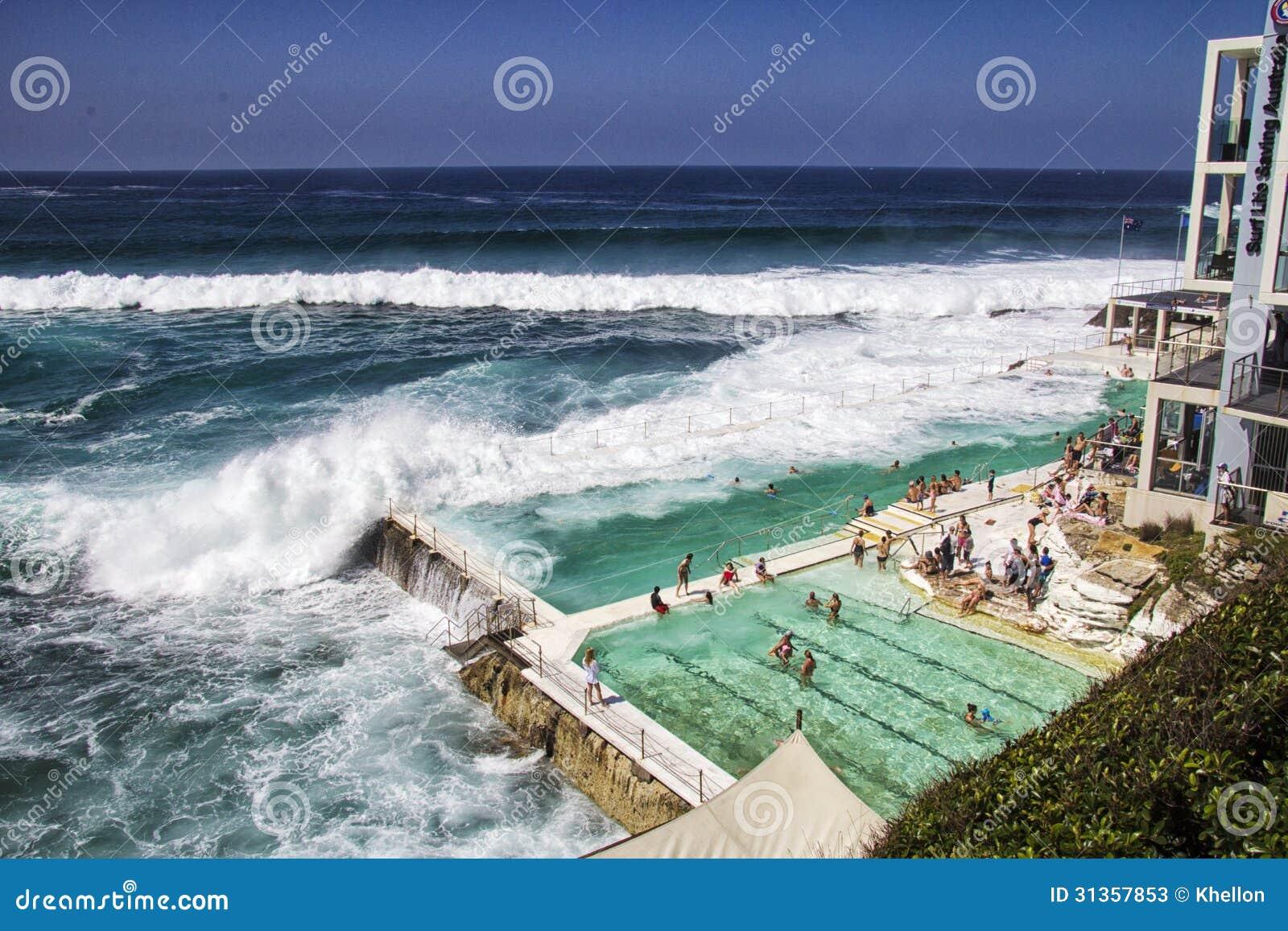 people sunbathing on Bondi Beach on Australia Day Stock