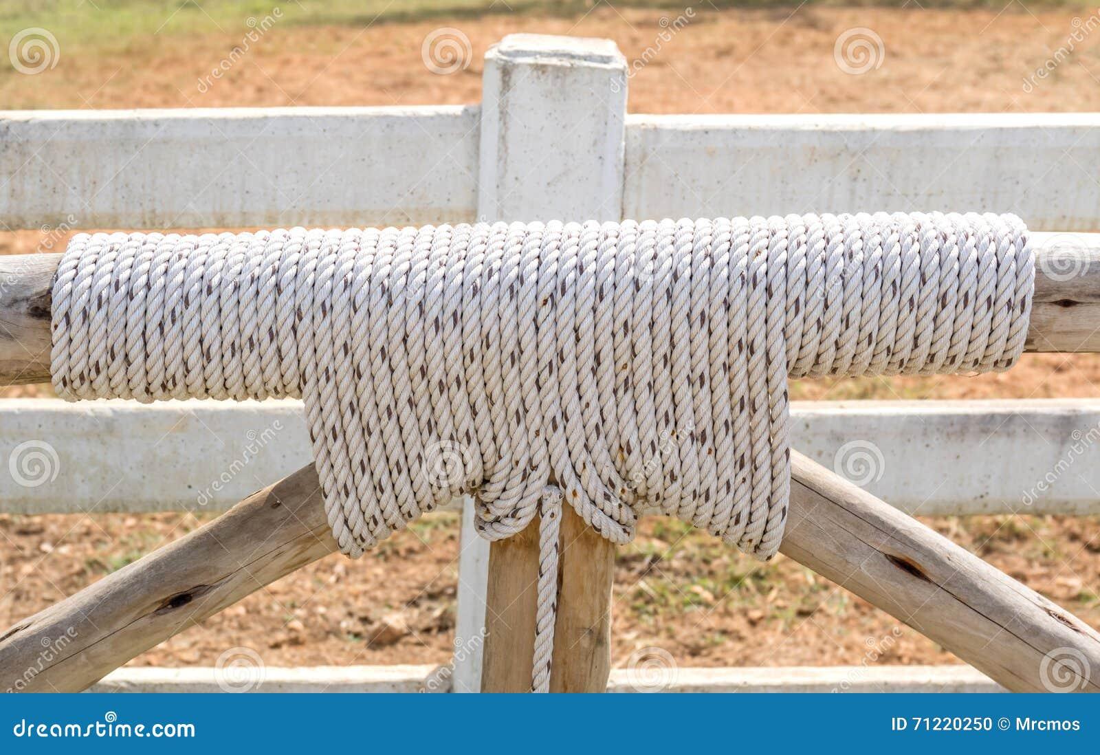 bondissez avec le noeud de corde et en bois comme barri re dans les terres cultivables photo. Black Bedroom Furniture Sets. Home Design Ideas