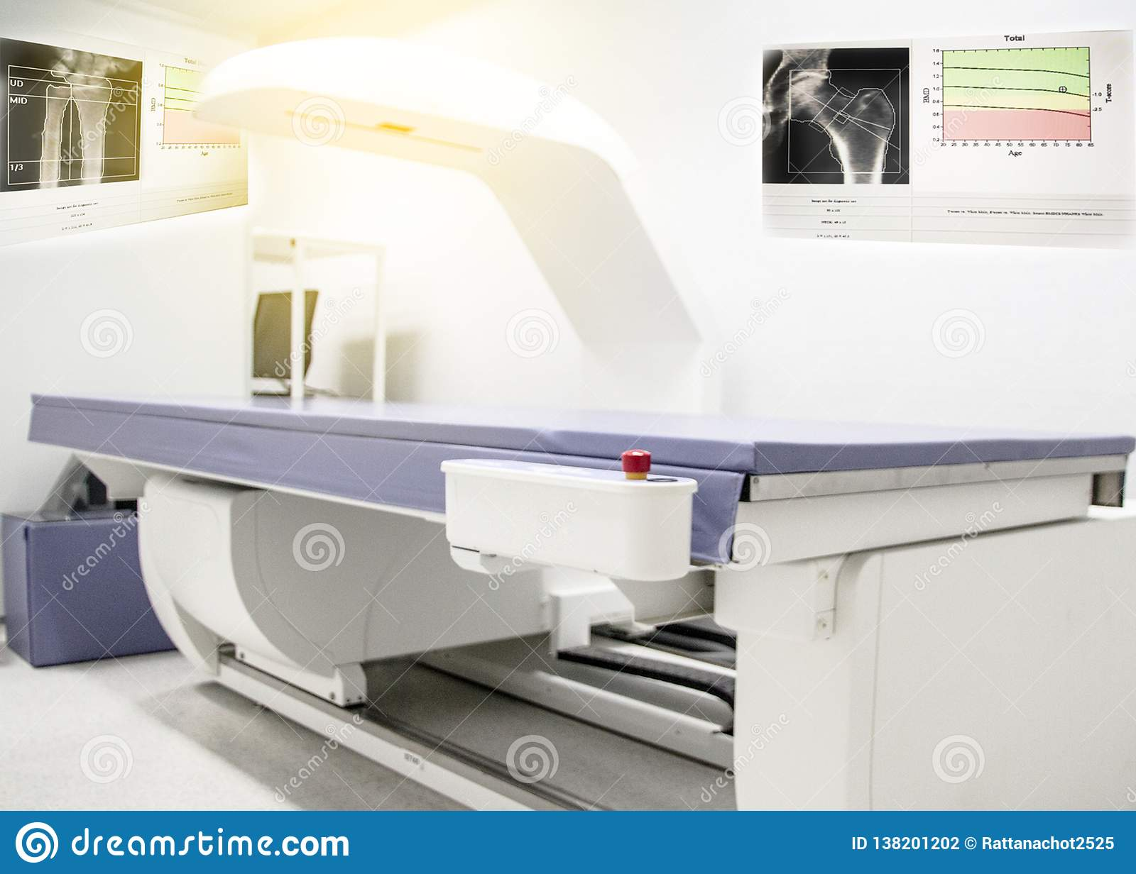 Bone density machine, is in the Xray department of hospital used for diagnose osteoporosis symptoms