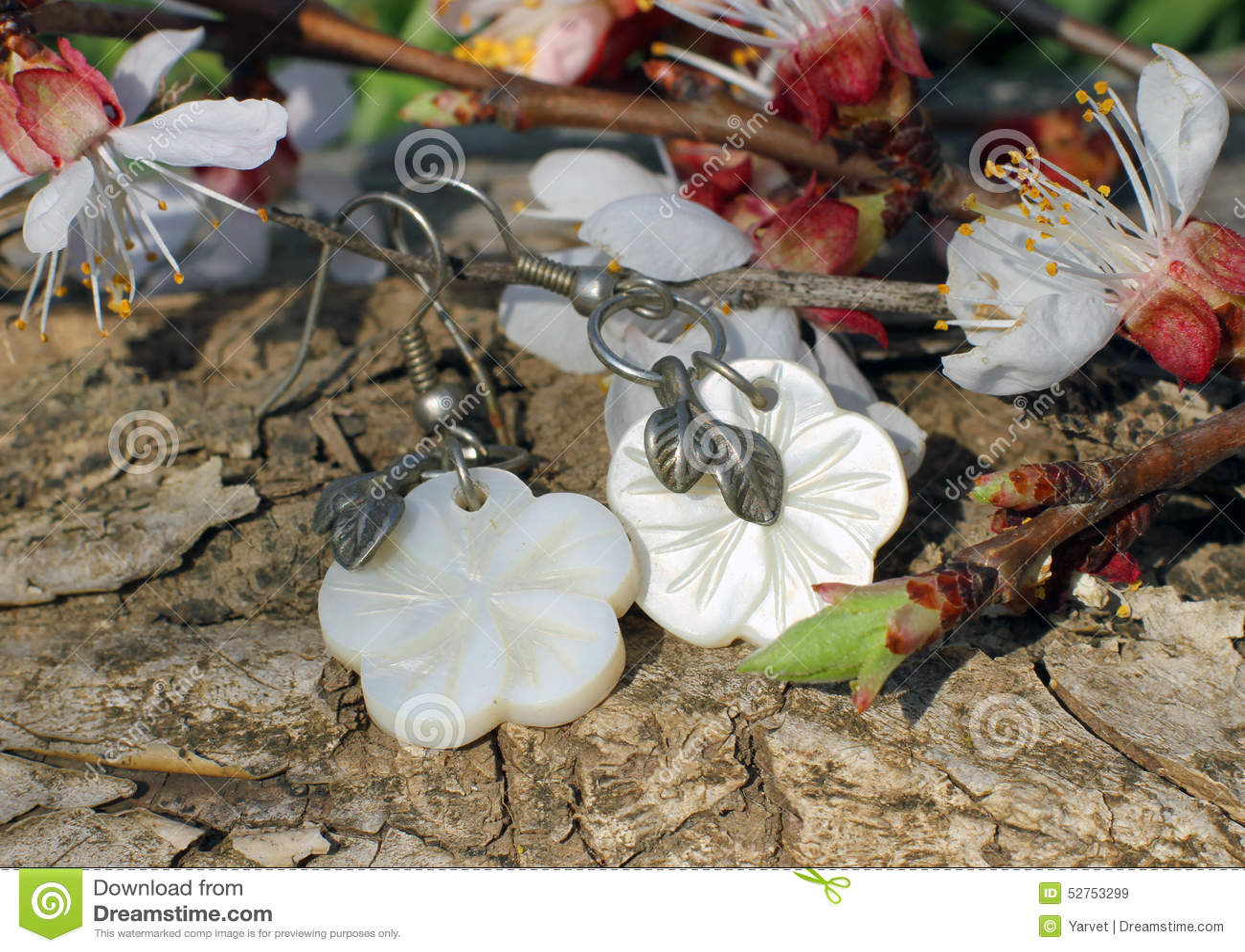 Bone earrings on the nature background