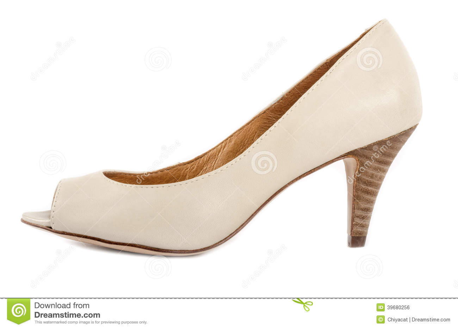 bone white open toe shoes 3 stock photo image 39680256