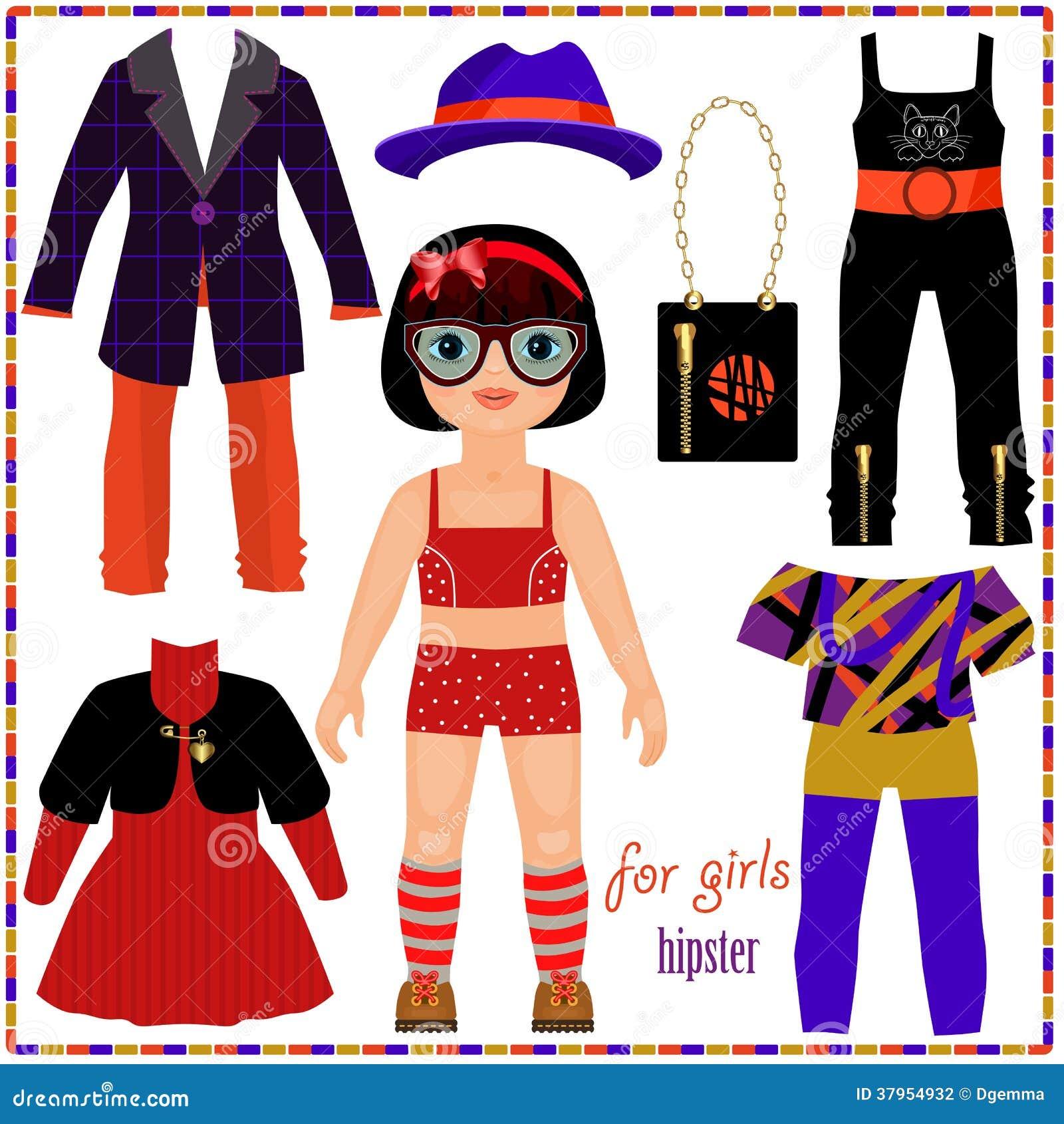 A boneca de papel com um grupo de forma veste-se. Menina bonito do moderno.