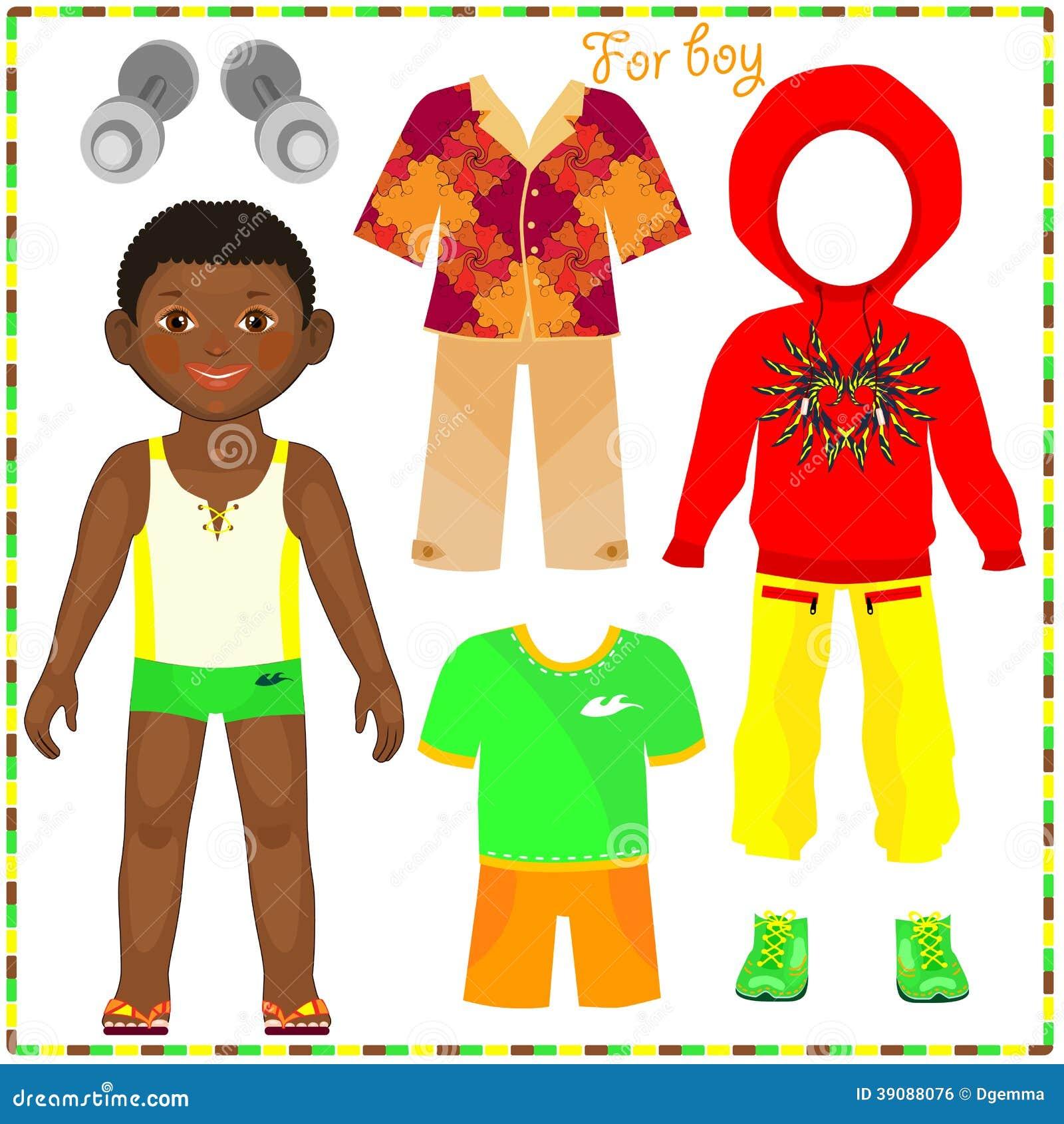 boneca de papel com um grupo de roupa elegante ilustra o