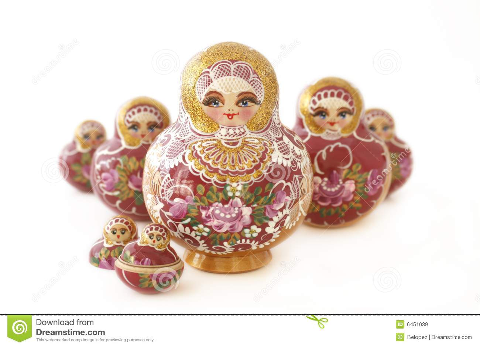 Bonecas do russo em um v-shape