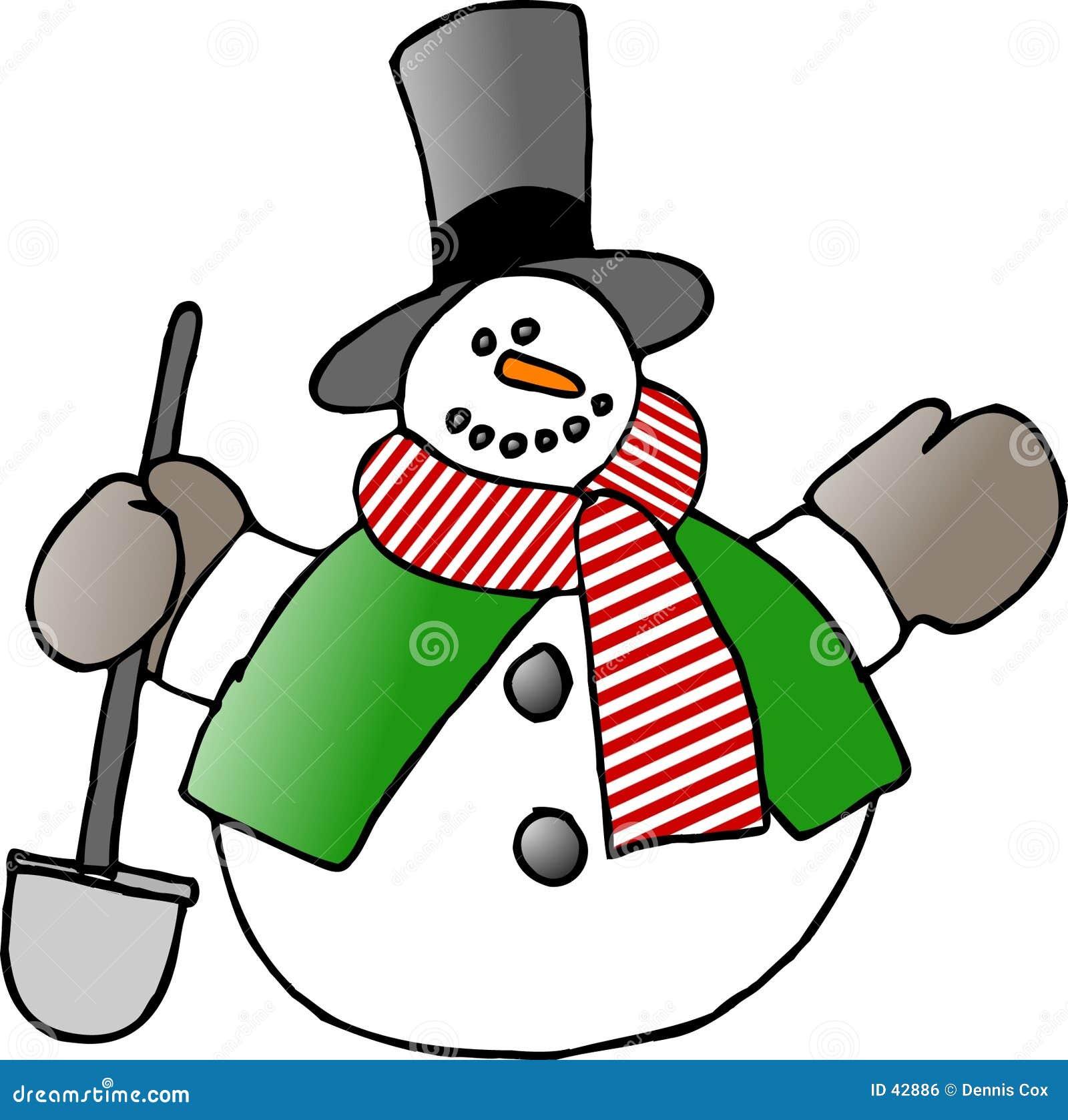 Boneco de neve com uma pá