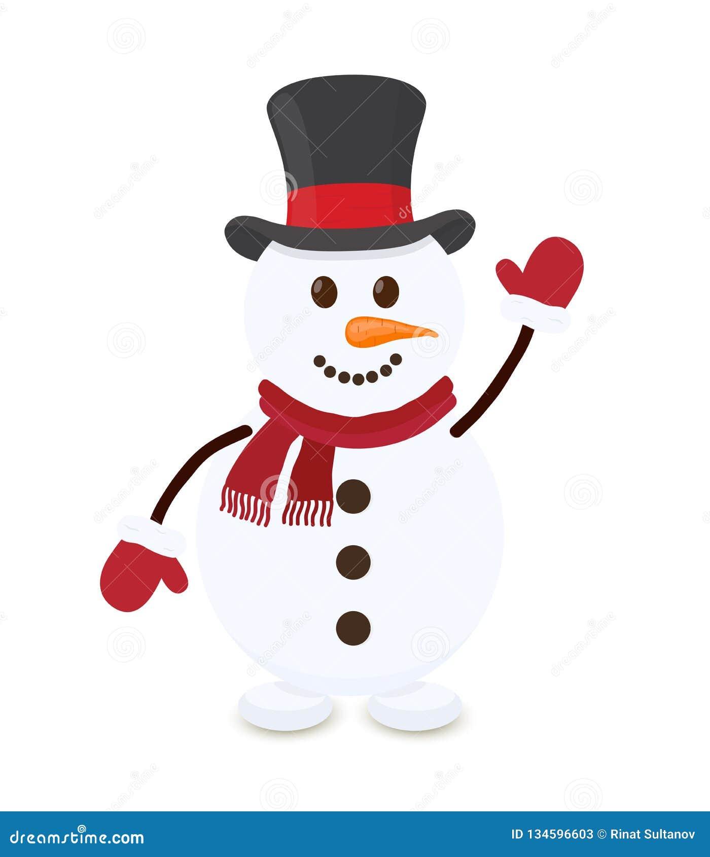 Boneco de neve dos desenhos animados do vetor, caráter alegre do Natal