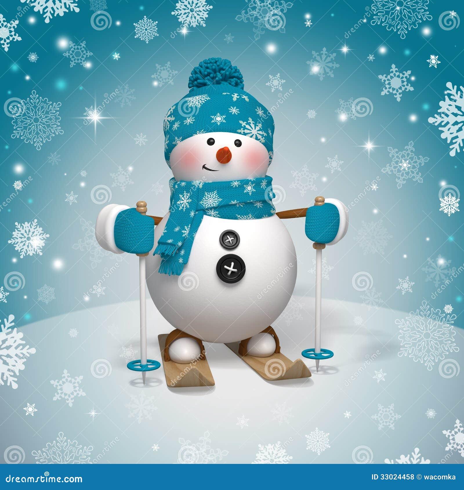 Boneco de neve engraçado bonito do esqui do Natal