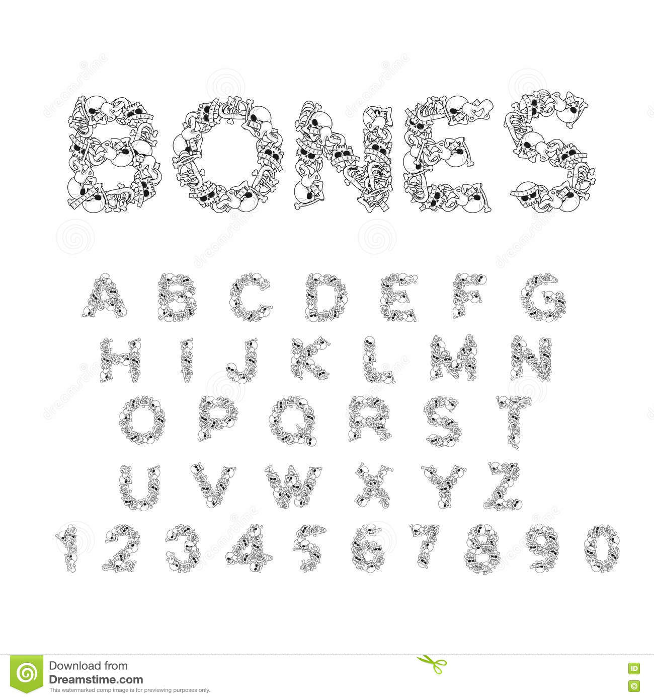 Anatomy Of Hell In English bones alphabet. letters anatomy. skeleton font. skull and