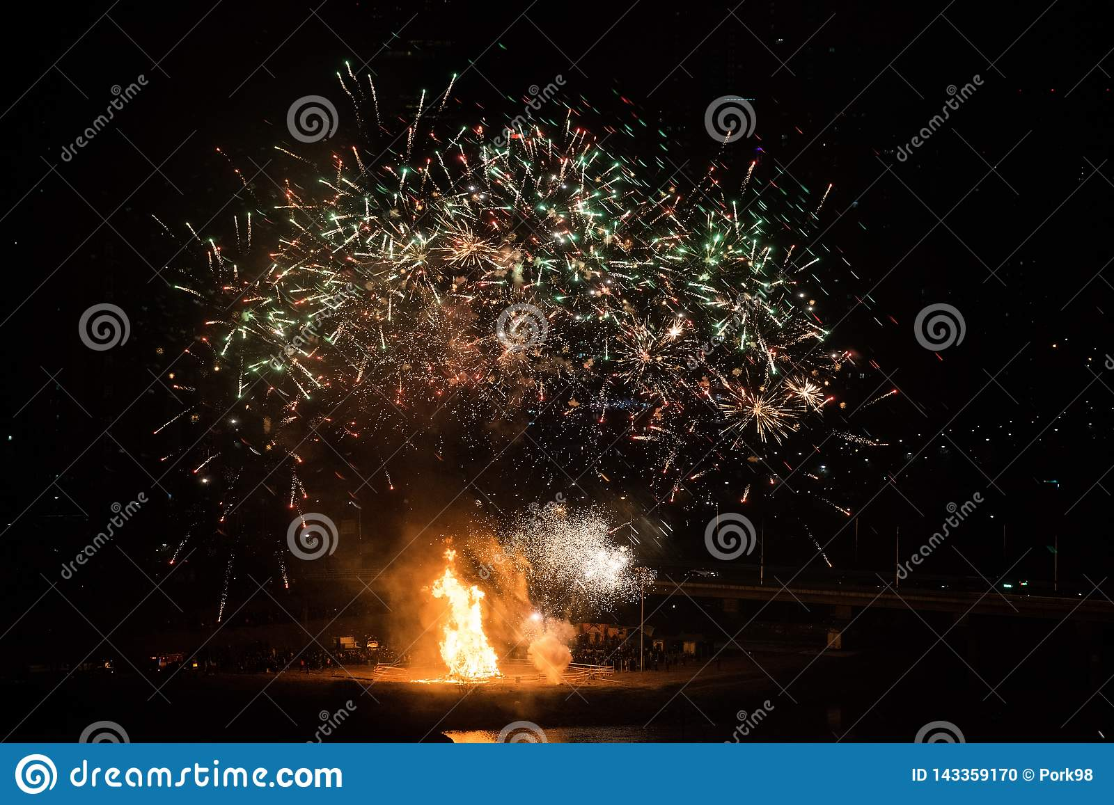 Bonfire And Fireworks For The Celebration Of The First Full Moon Of
