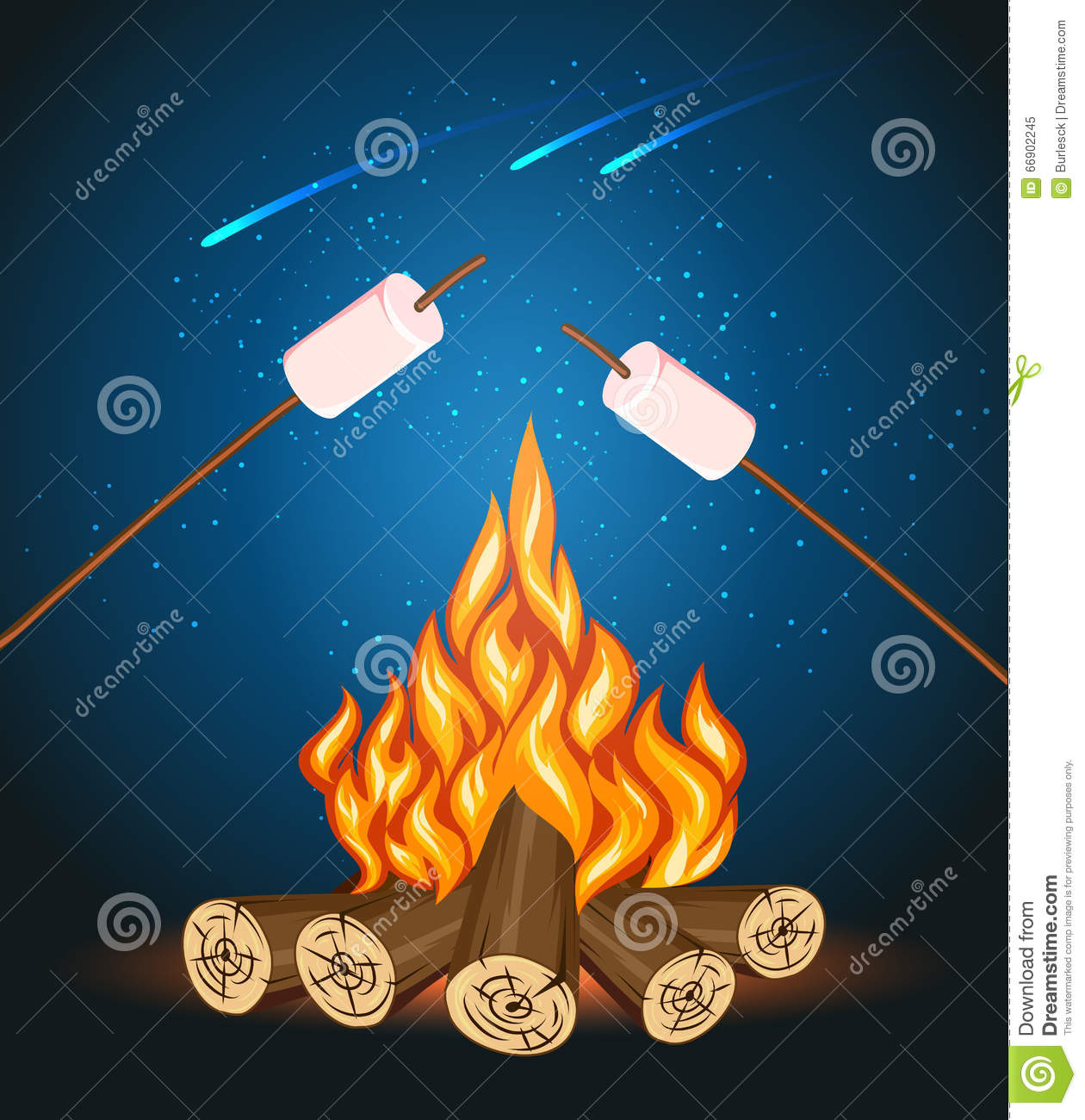 Bonfire With Marshmallow Camping Grill Marshmallow Vector
