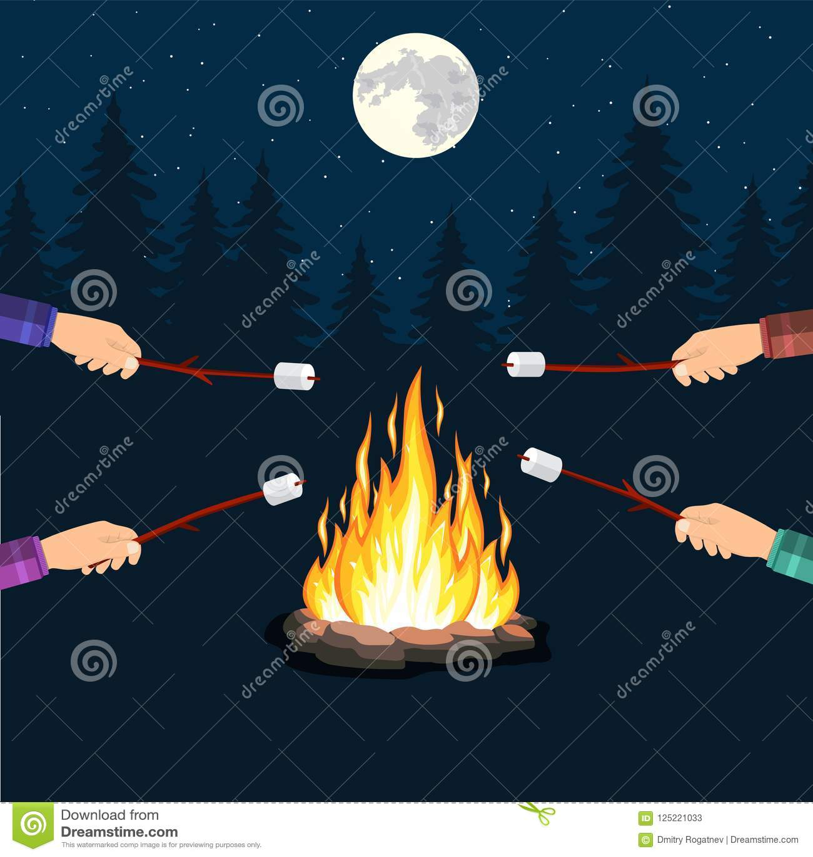 bonfire with marshmallow stone stock vector illustration of