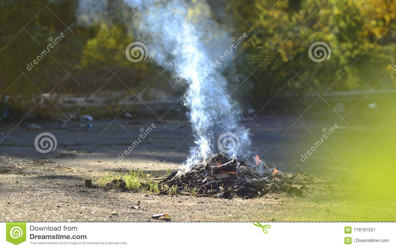 A Bonfire On The Nature  Smoke From The Fire  Campfire